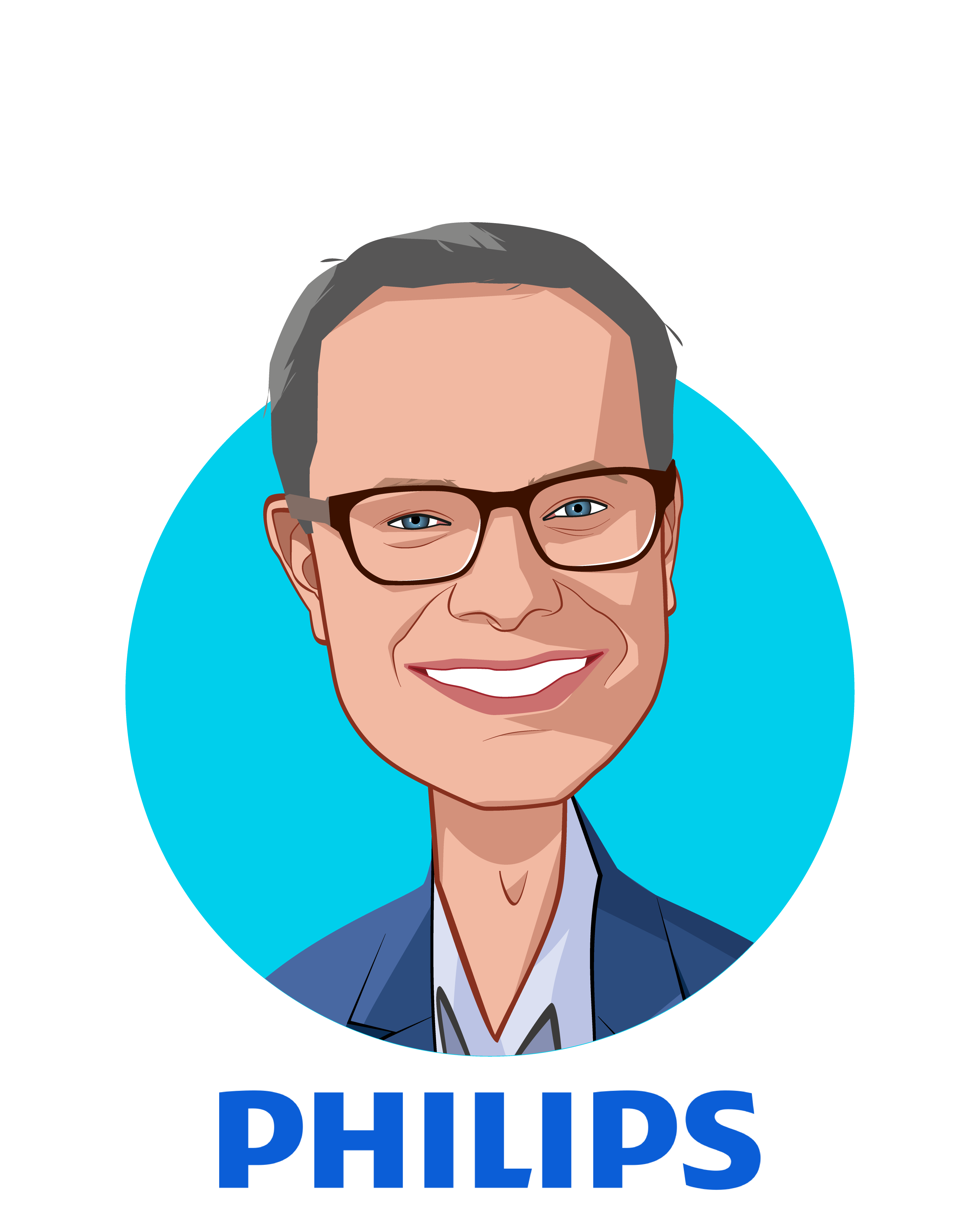 Main caricature of Jeroen Tas, who is speaking at HLTH and is Chief Innovation & Strategy Officer at Royal Philips