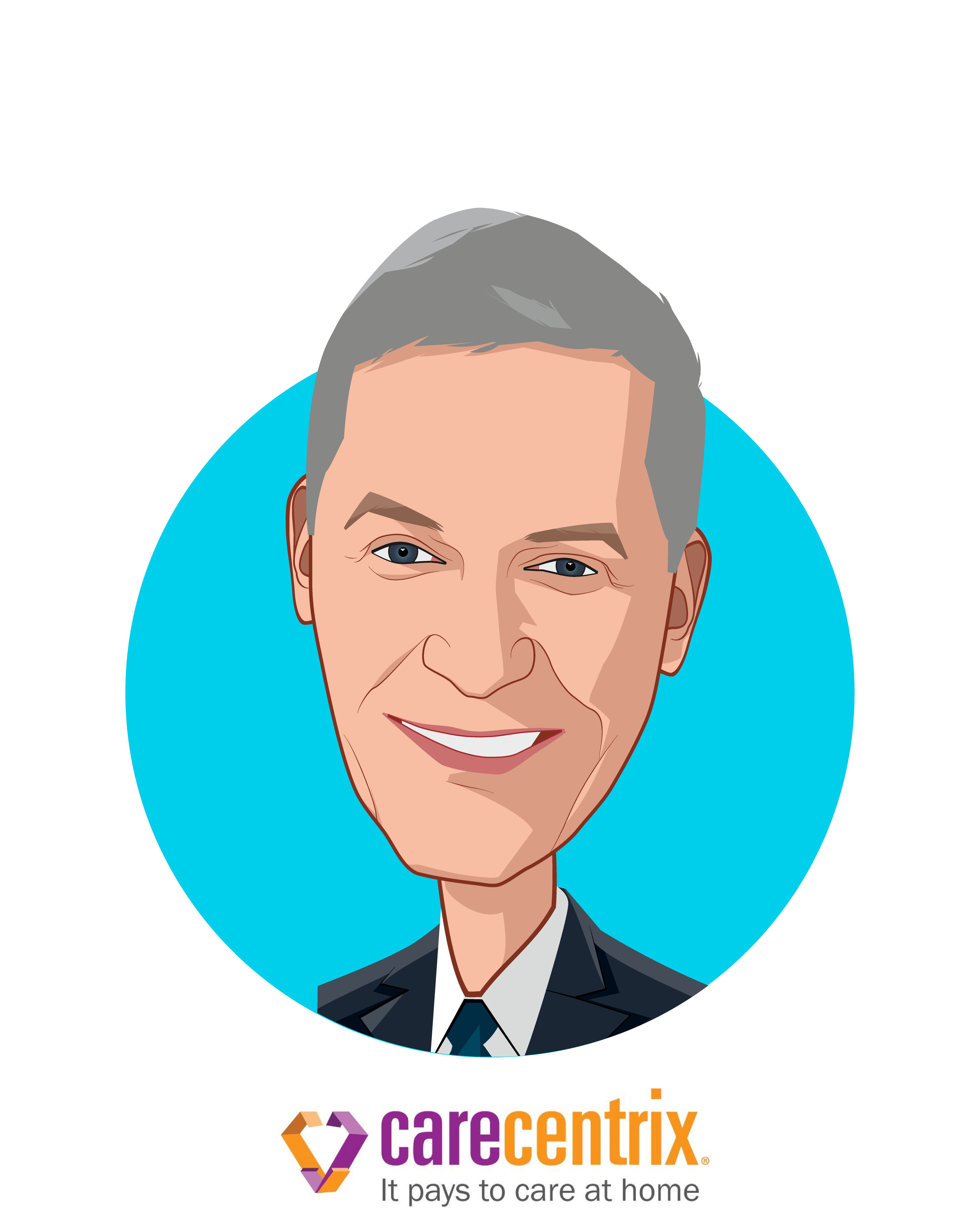 Main caricature of John P. Driscoll, who is speaking at HLTH and is Chief Executive Officer at CareCentrix