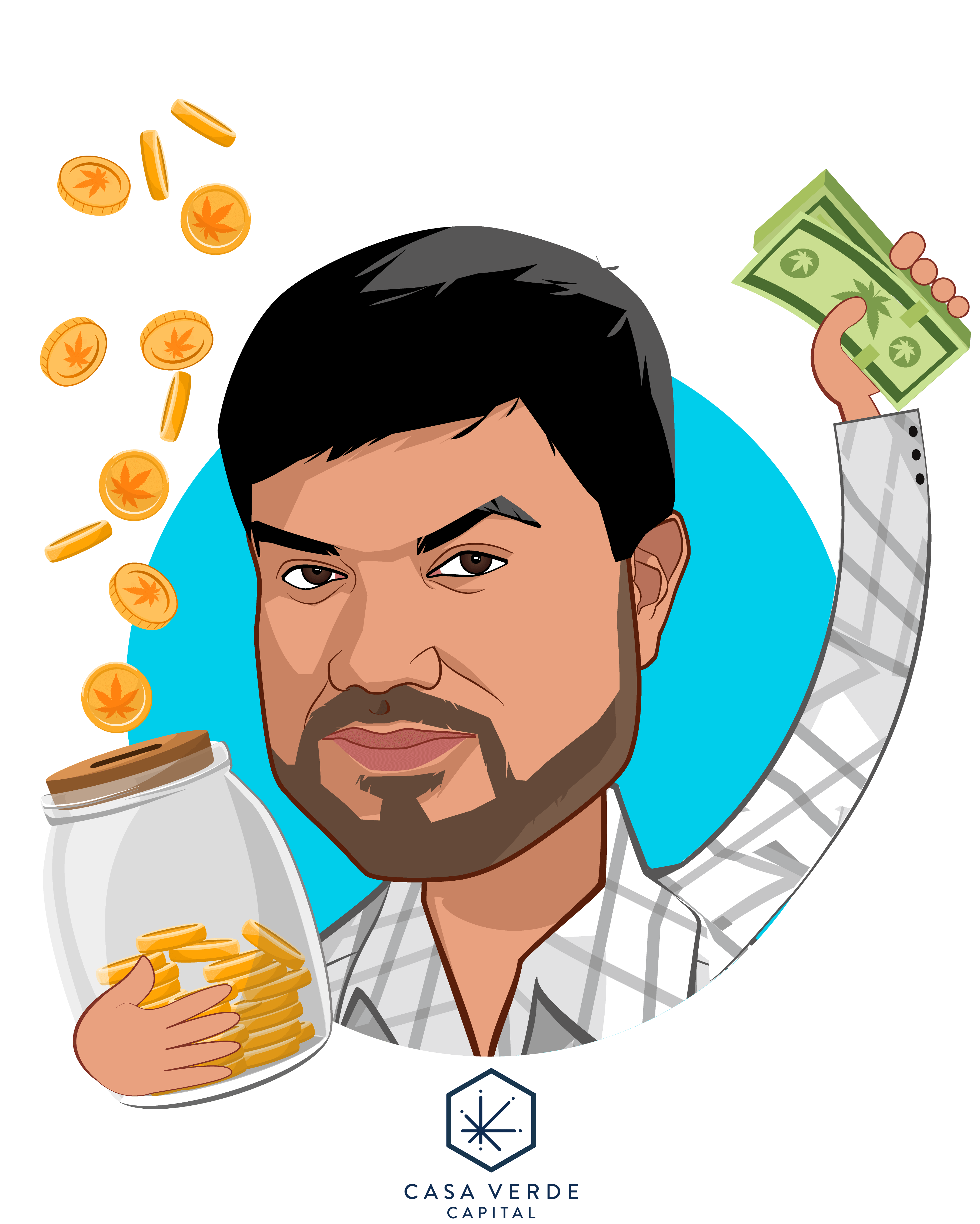 Overlay caricature of Karan Wadhera, who is speaking at HLTH and is Managing Partner at Casa Verde Capital