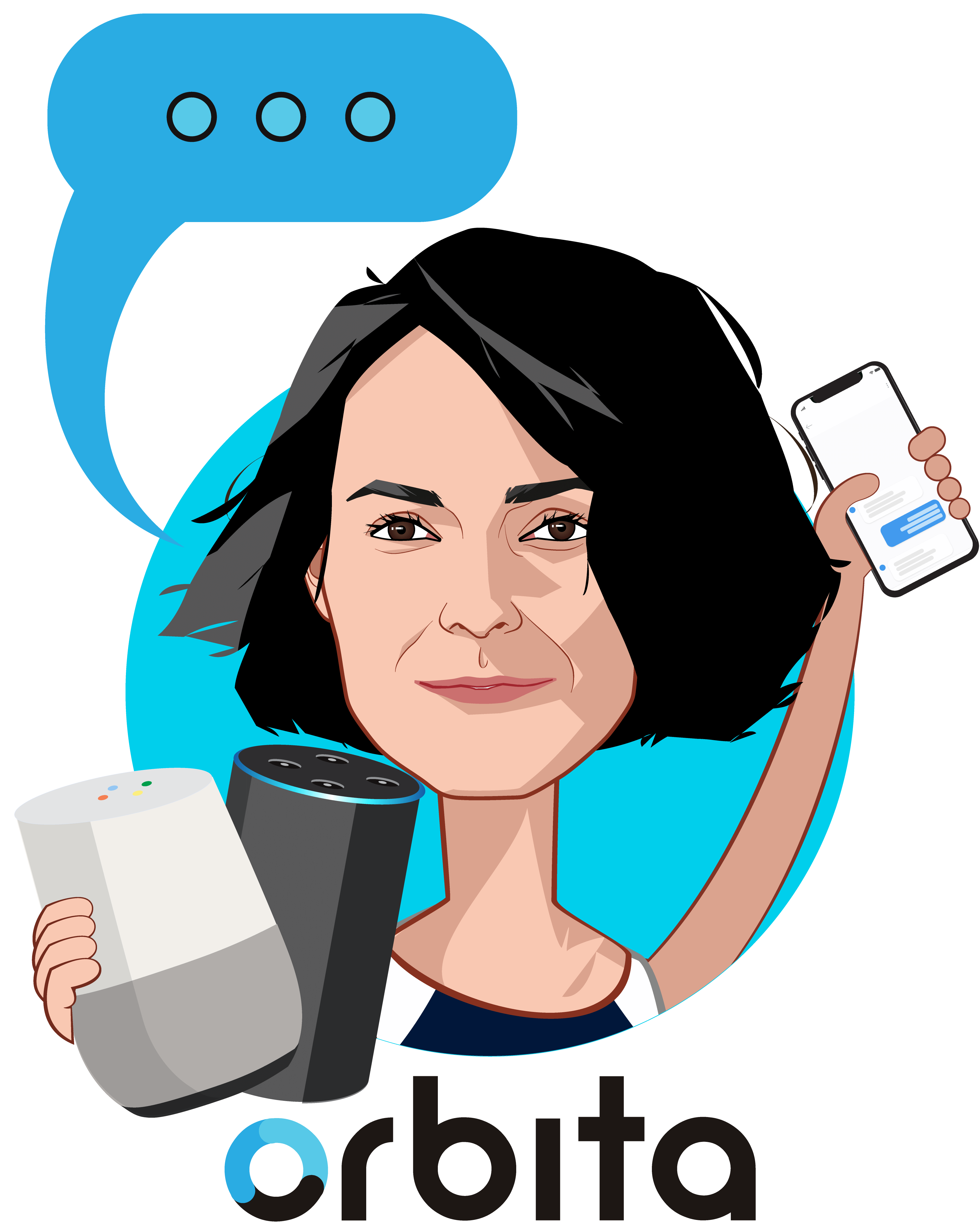 Overlay caricature of Kristi Ebong, who is speaking at HLTH and is SVP Strategy, GM Providers at Orbita