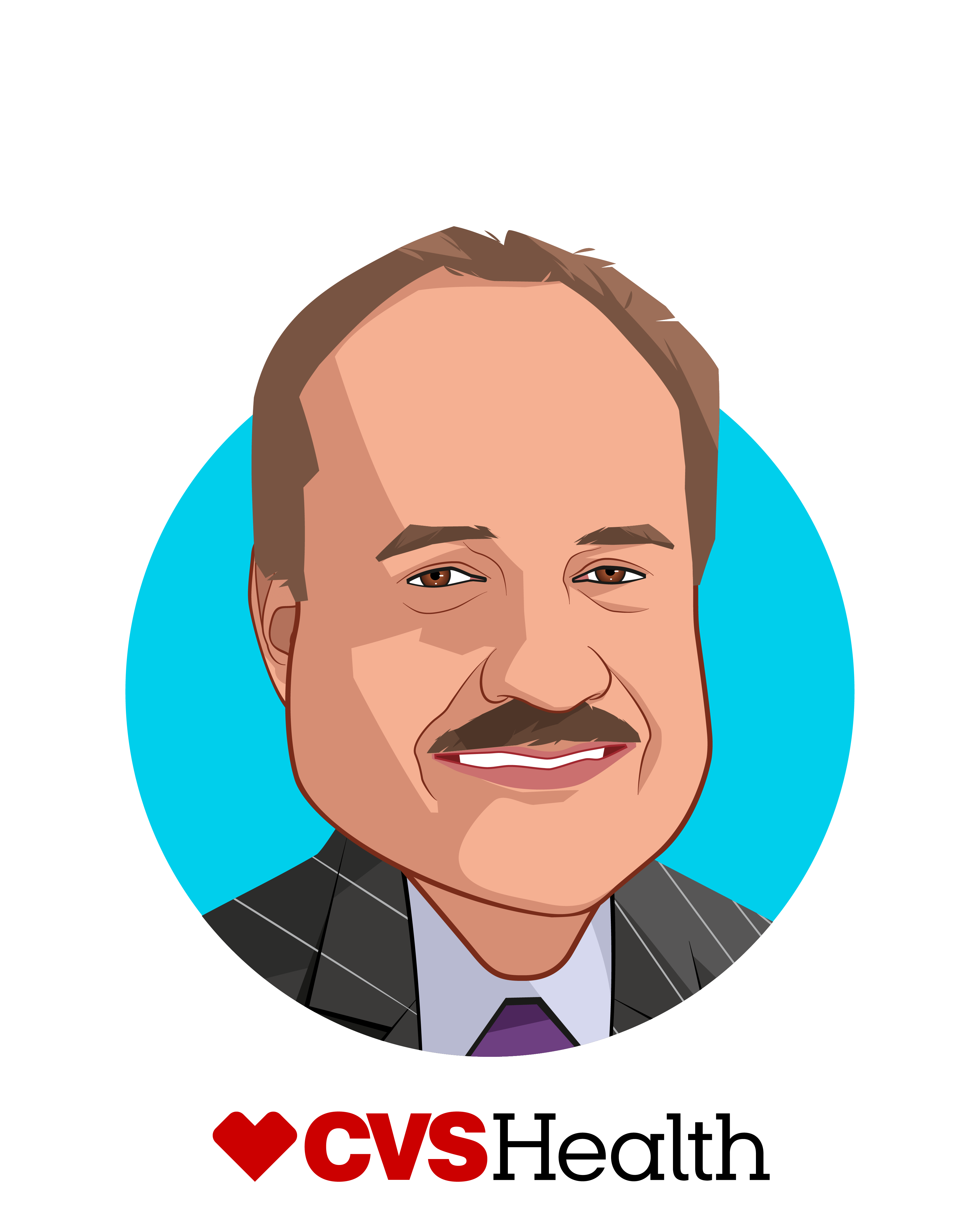 Main caricature of Larry Merlo, who is speaking at HLTH and is President and Chief Executive Officer at CVS Health