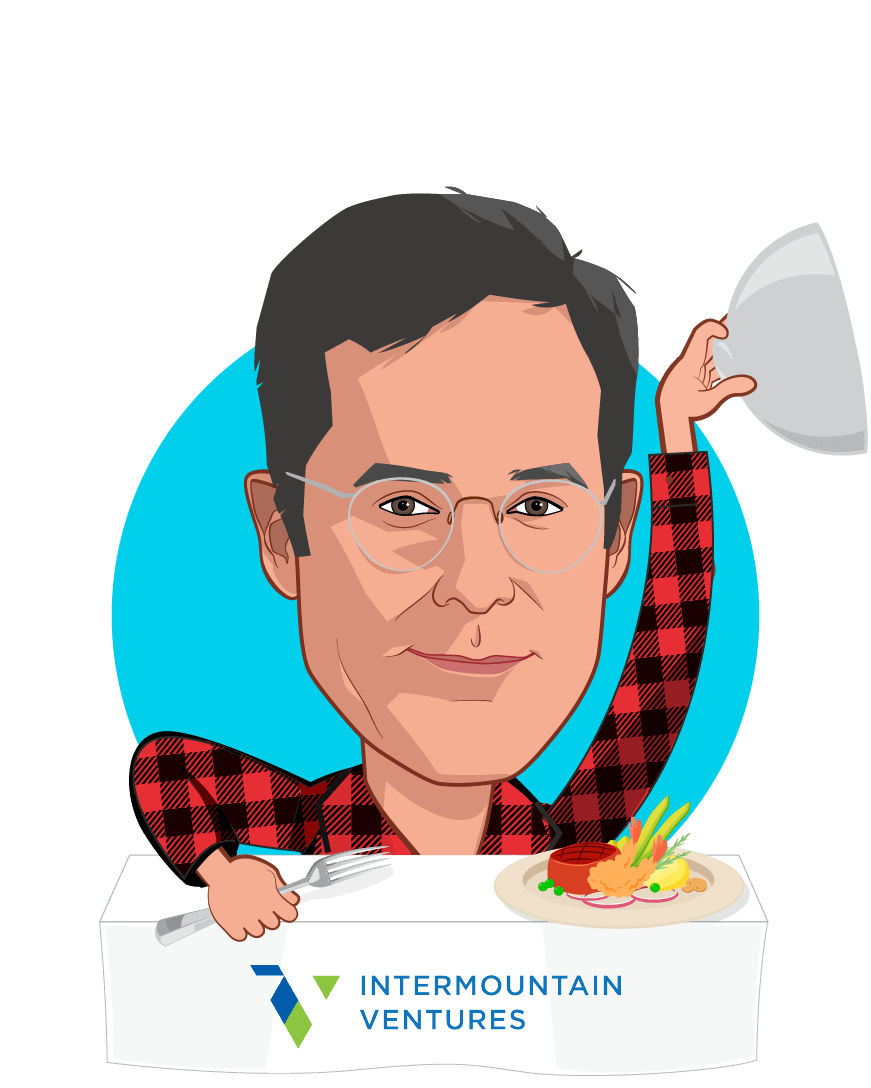 Overlay caricature of Mike Phillips, who is speaking at HLTH and is Ventures Partner and Director at Intermountain
