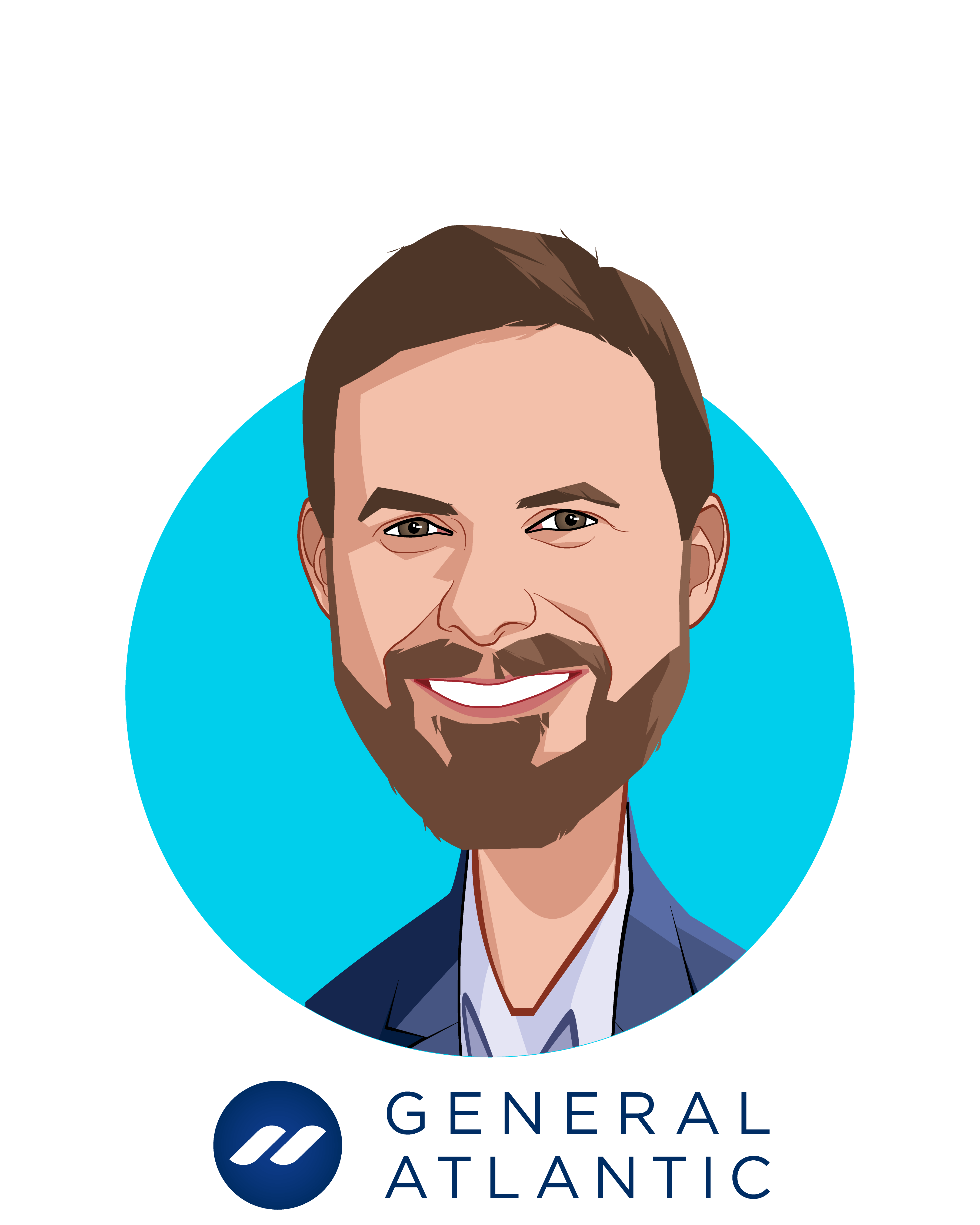 Main caricature of Robbert Vorhoff, who is speaking at HLTH and is Managing Director and Global Head of Healthcare at General Atlantic