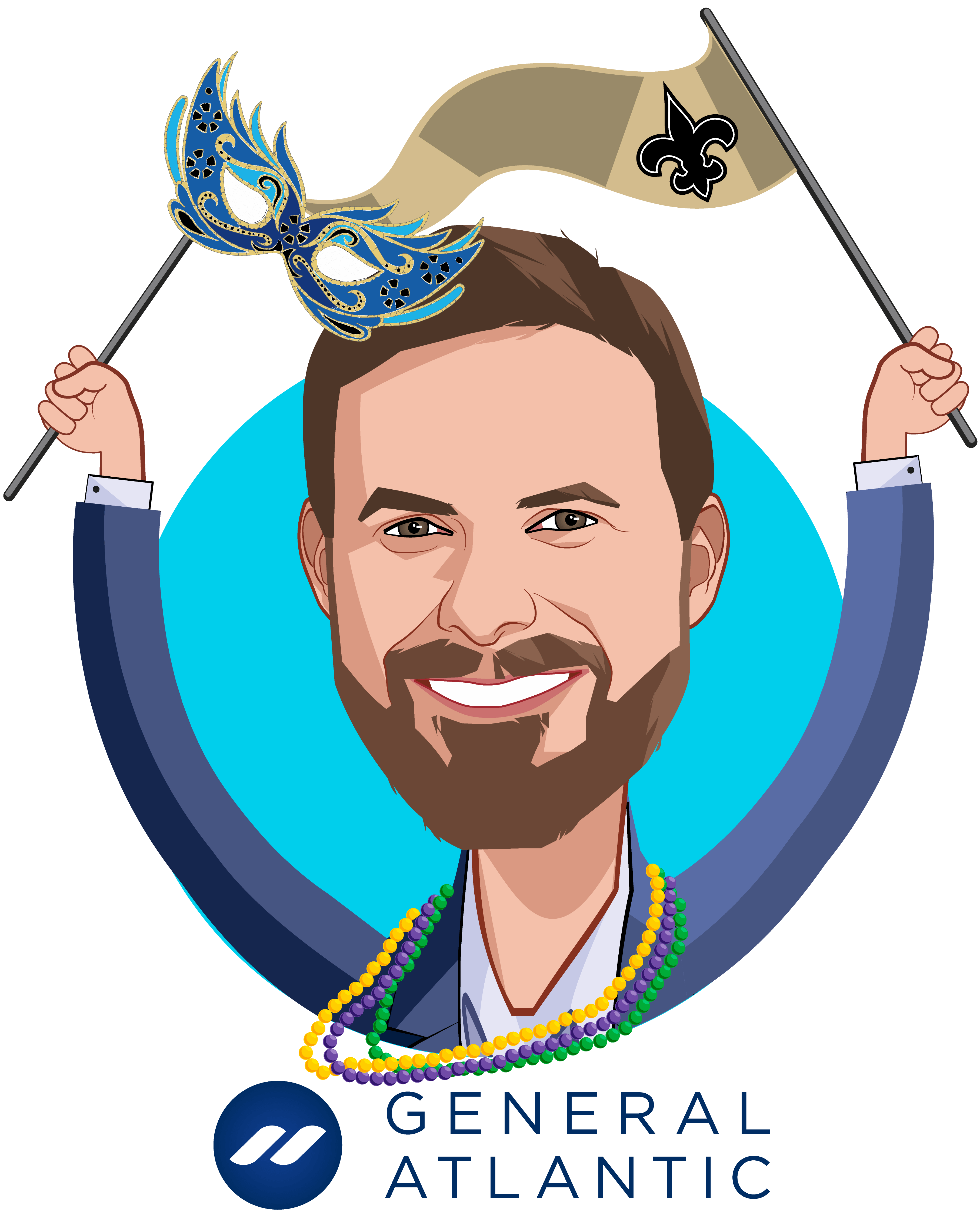 Overlay caricature of Robbert Vorhoff, who is speaking at HLTH and is Managing Director and Global Head of Healthcare at General Atlantic