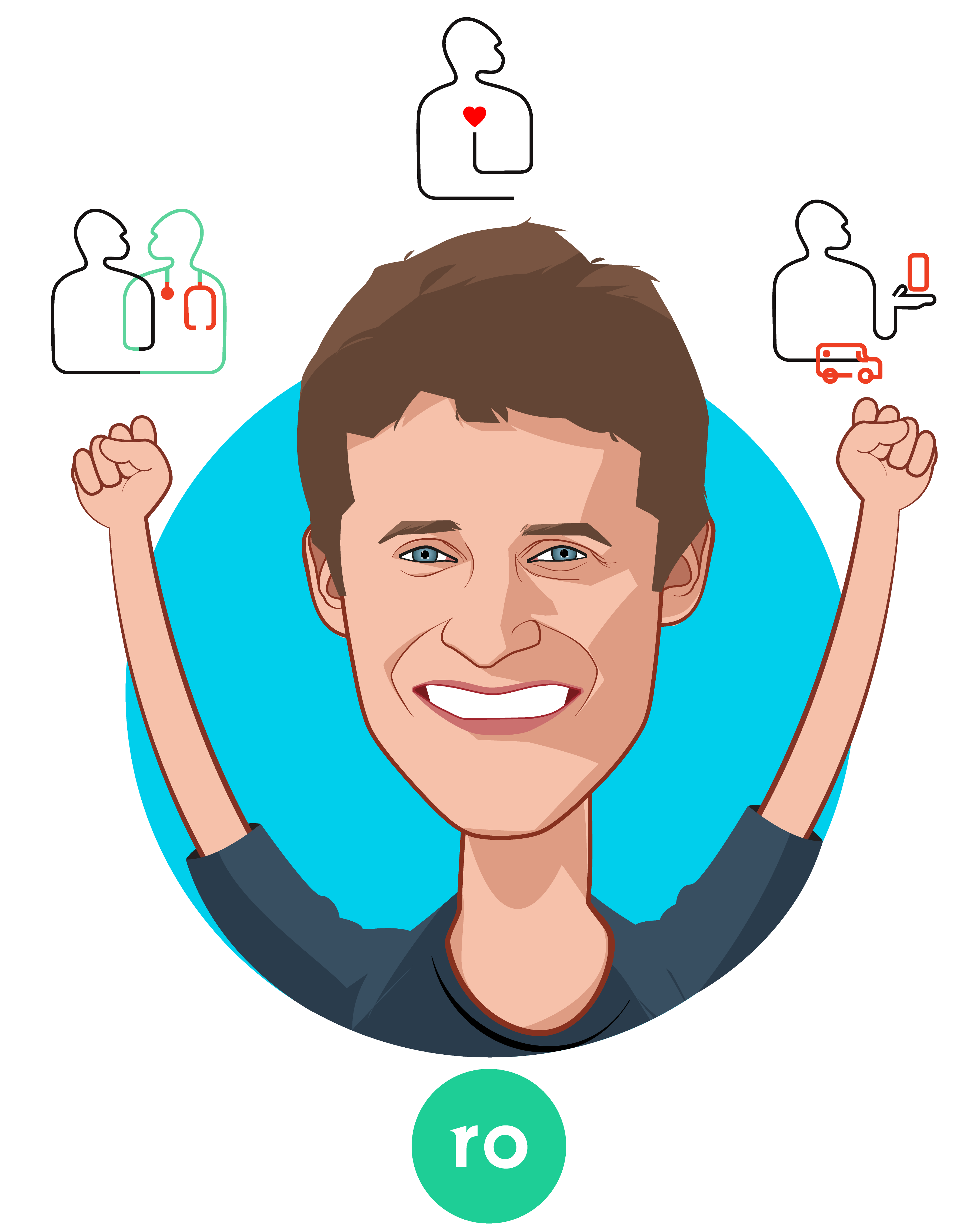 Overlay caricature of Zachariah Reitano, who is speaking at HLTH and is CEO and Co-Founder at Ro
