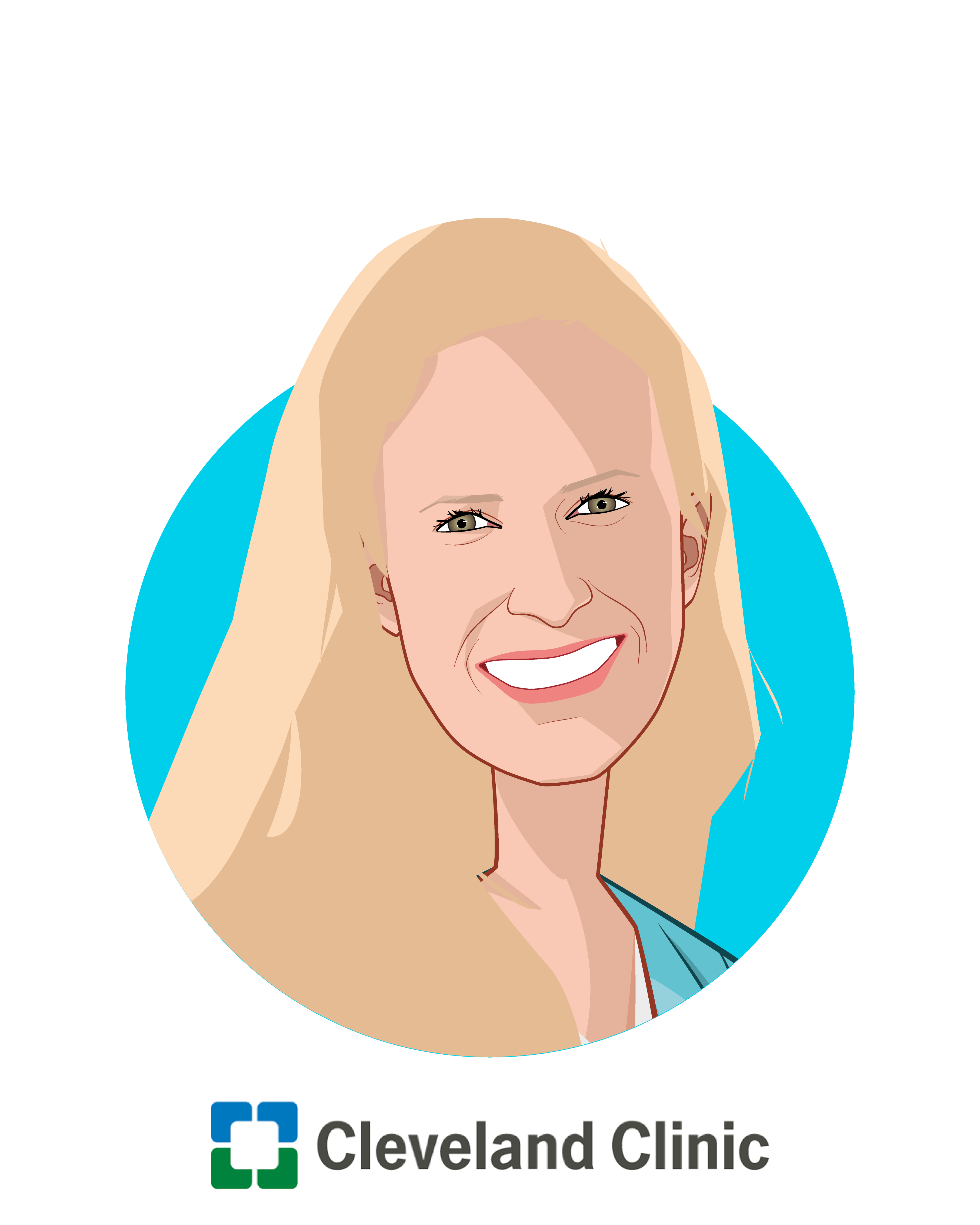 Main caricature of Adrienne Boissy, MD, MA, who is speaking at HLTH and is Chief Experience Officer at Cleveland Clinic Health System