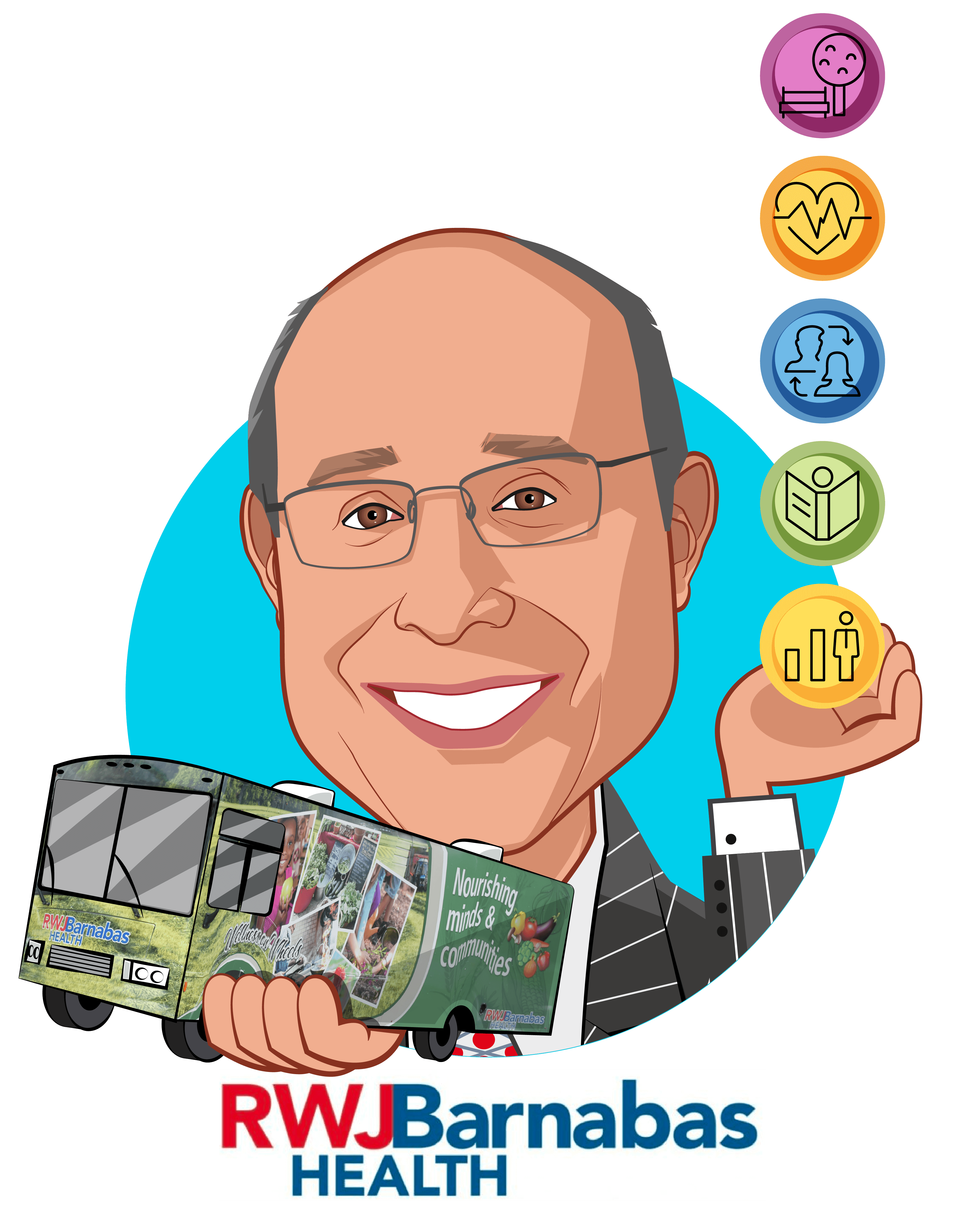 Overlay caricature of Barry H. Ostrowsky, who is speaking at HLTH and is President and Chief Executive Officer at RWJBarnabas Health