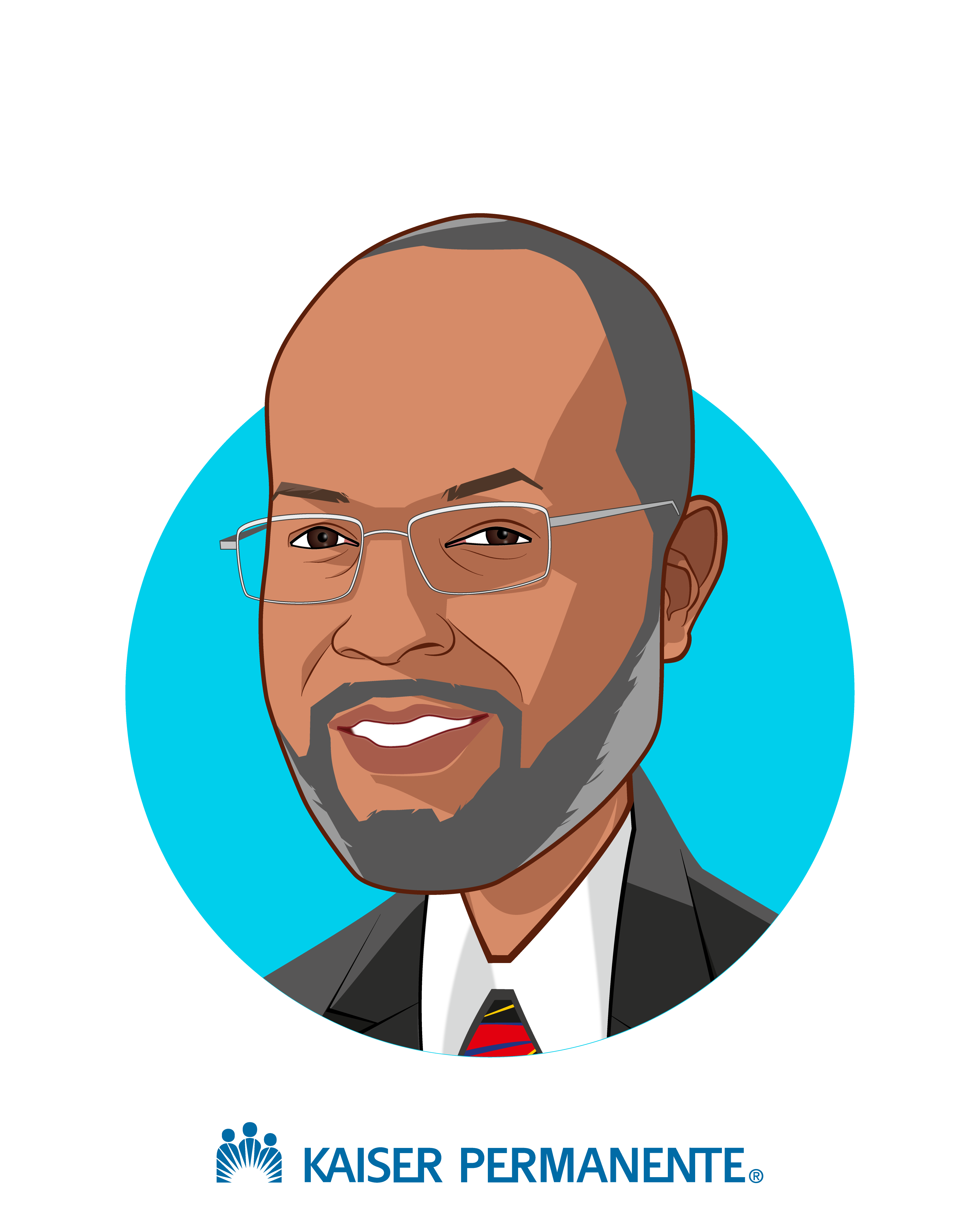 Main caricature of Bernard J.  Tyson, who is speaking at HLTH and is Chairman and CEO at Kaiser Permanente