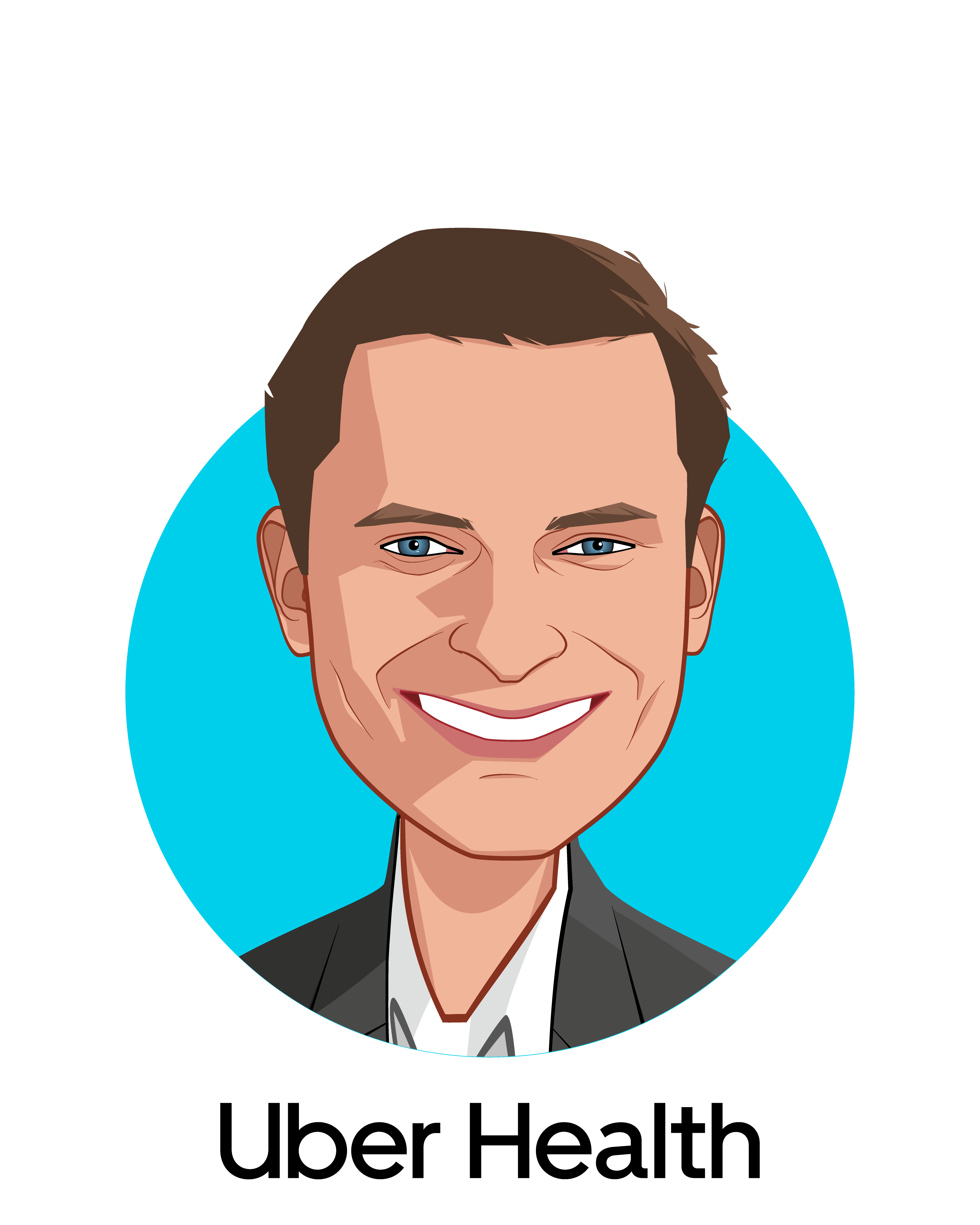 Main caricature of Dan Trigub, who is speaking at HLTH and is Head of Uber Health at Uber Health