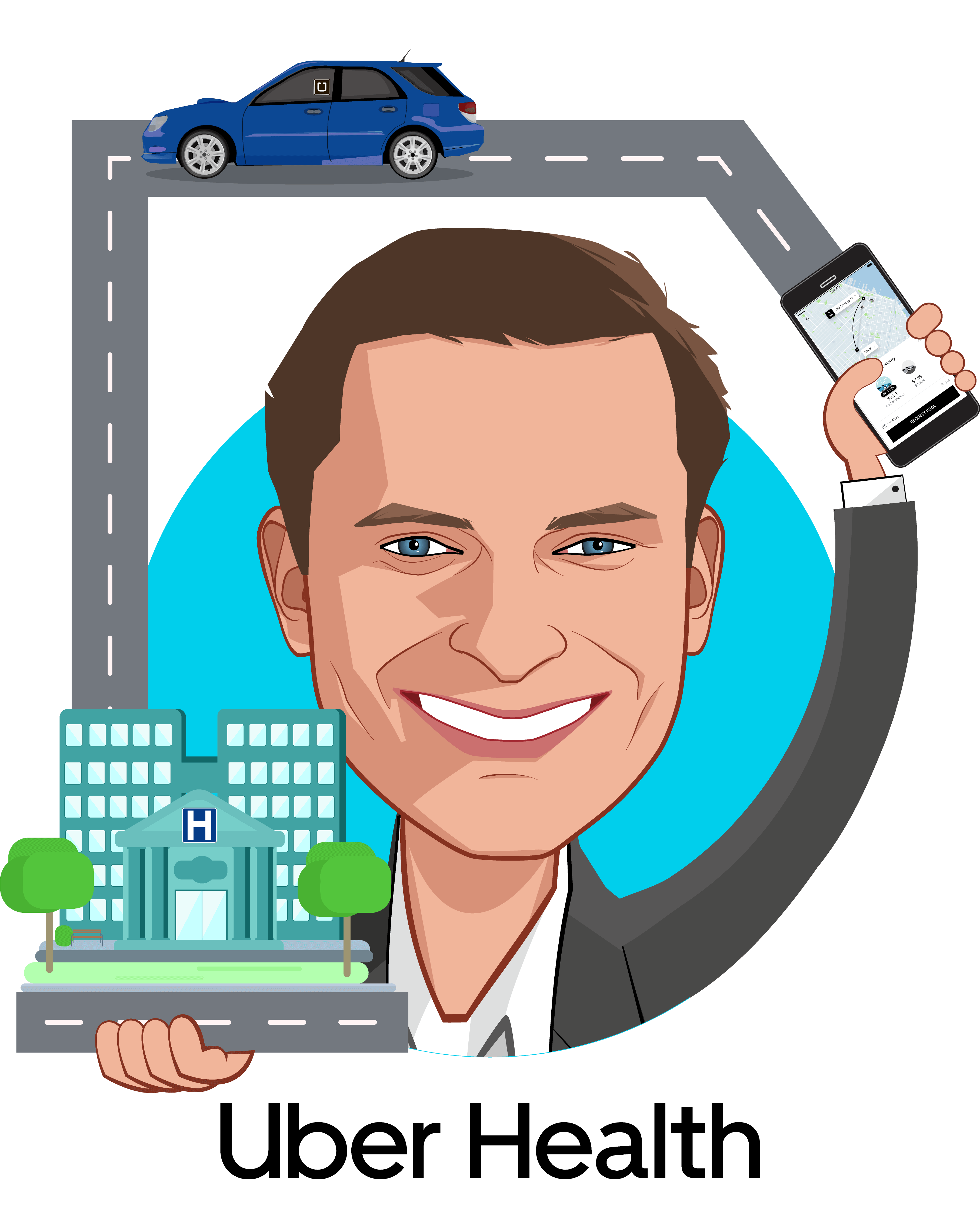 Overlay caricature of Dan Trigub, who is speaking at HLTH and is Head of Uber Health at Uber Health