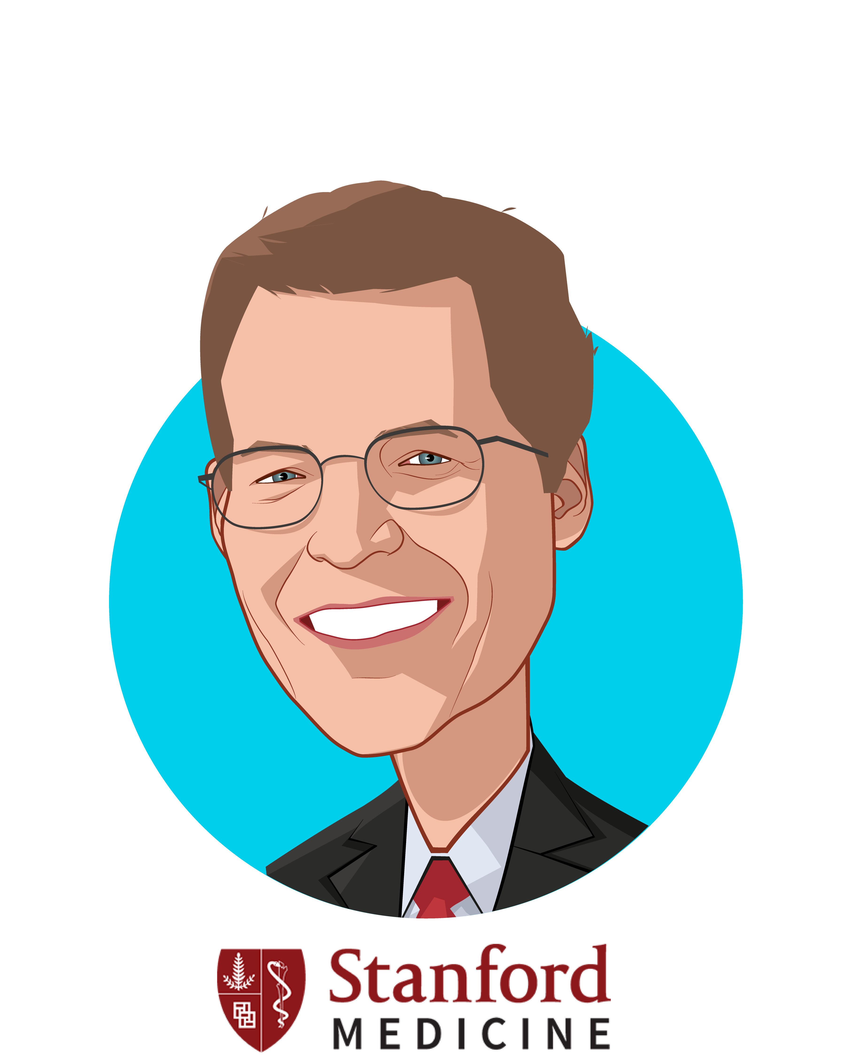 Main caricature of Lloyd Minor, MD, who is speaking at HLTH and is Dean at Stanford School of Medicine