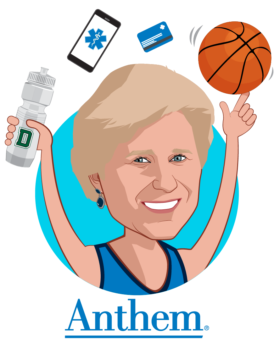 Overlay caricature of Gail K. Boudreaux, who is speaking at HLTH and is President and CEO at Anthem, Inc.