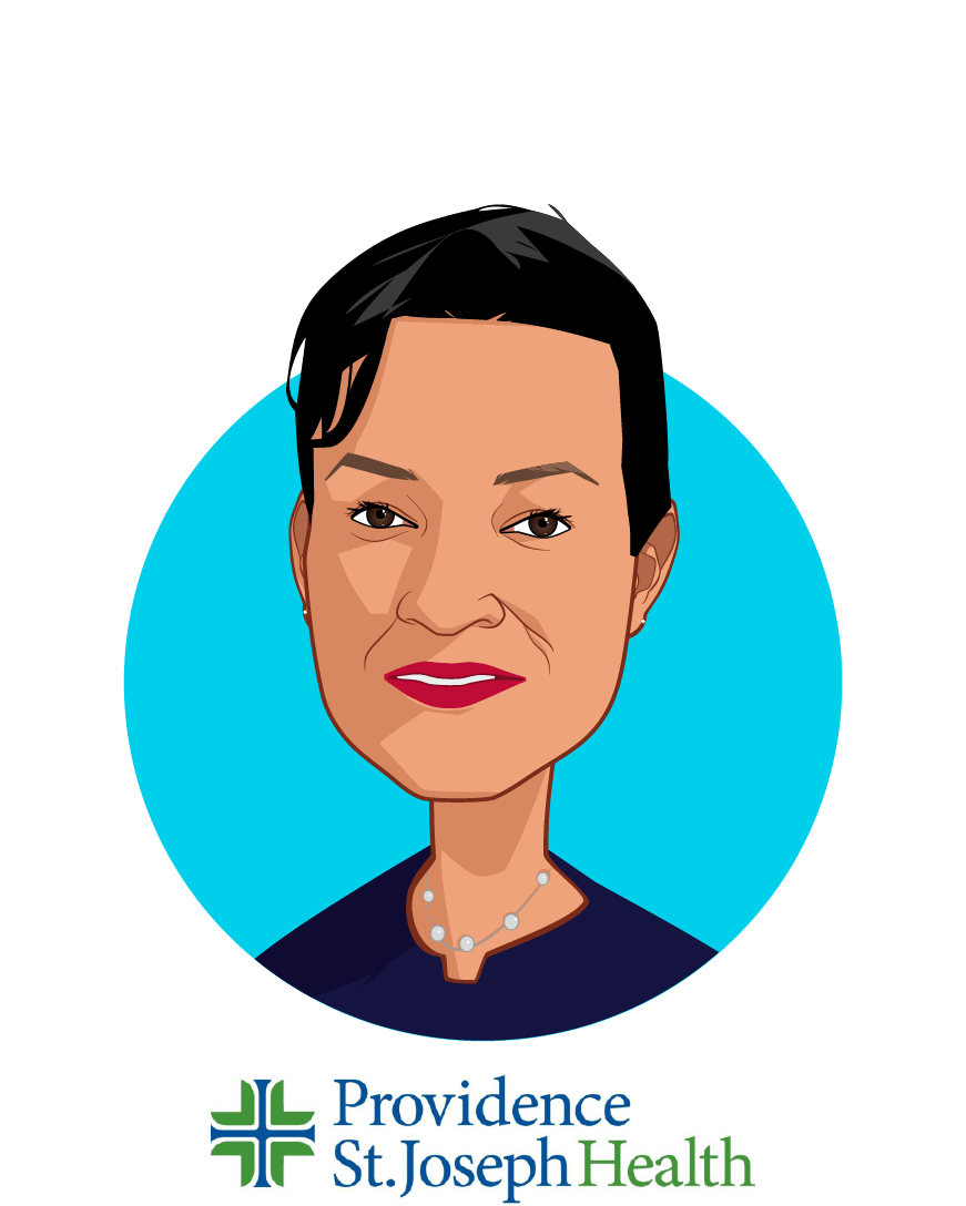 Main caricature of Dr. Rhonda Medows, who is speaking at HLTH and is President of Population Health, Providence St. Joseph Health at CEO, Ayin Health Solutions