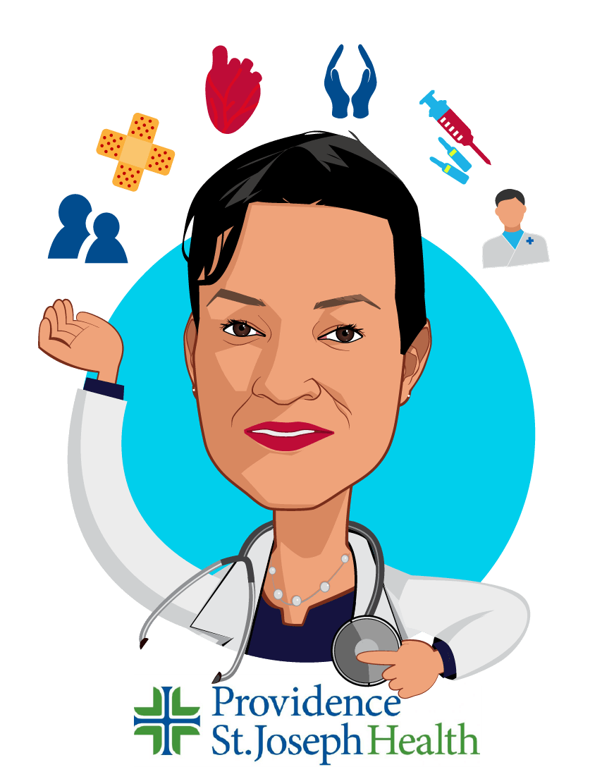 Overlay caricature of Dr. Rhonda Medows, who is speaking at HLTH and is President of Population Health, Providence St. Joseph Health at CEO, Ayin Health Solutions