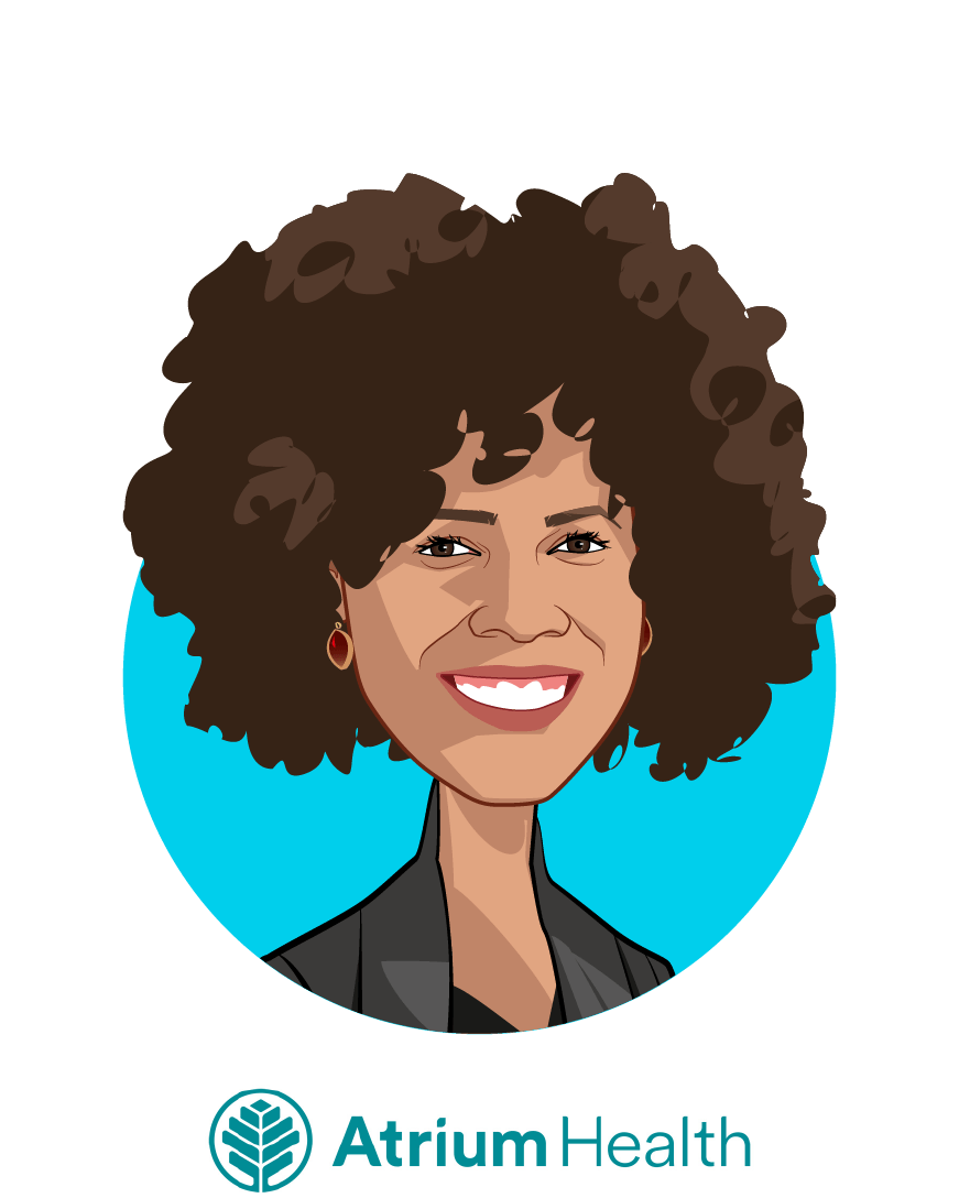 Main caricature of Dr. Alisahah Cole, who is speaking at HLTH and is Chief Community Impact Officer at Atrium Health