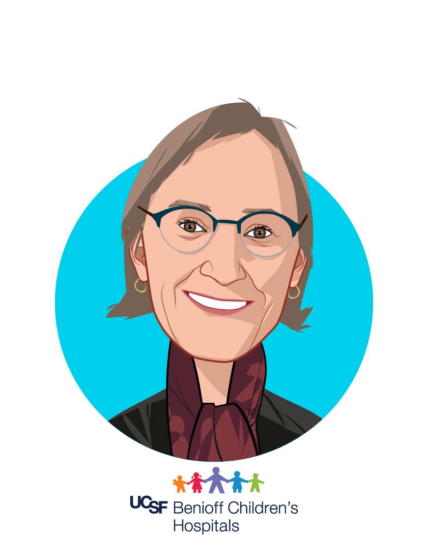 Main caricature of Anne Marsh, MD, who is speaking at HLTH and is Director, Pediatric Sickle Cell Clinic at UCSF Benioff Children's Hospitals
