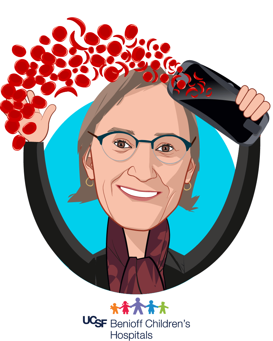 Overlay caricature of Anne Marsh, MD, who is speaking at HLTH and is Director, Pediatric Sickle Cell Clinic at UCSF Benioff Children's Hospitals