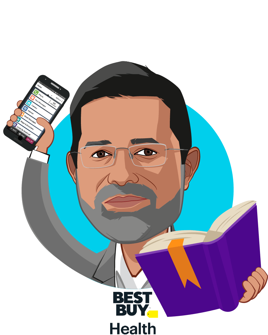 Overlay caricature of Asheesh Saksena, who is speaking at HLTH and is President, Best Buy Health at Best Buy