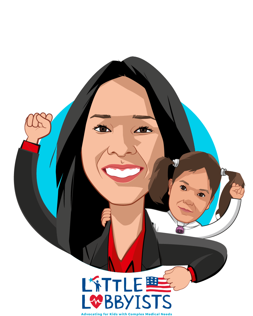 Overlay caricature of Elena Hung, who is speaking at HLTH and is Co-founder and President at Little Lobbyists