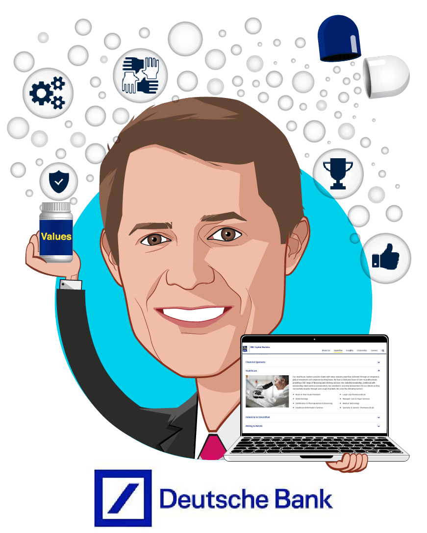 Overlay caricature of George Hill, who is speaking at HLTH and is Managing Director, Healthcare Technology & Services Equity Research  at Deutsche Bank Securities Inc.