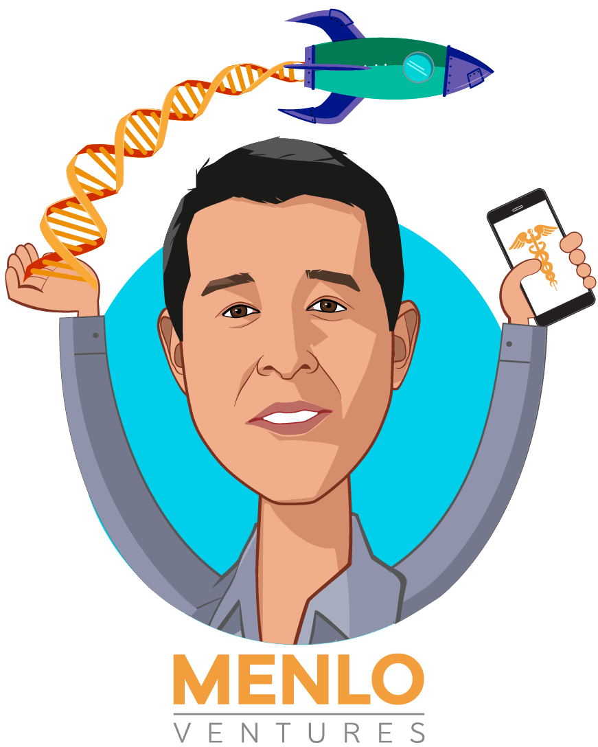 Overlay caricature of Greg Yap, who is speaking at HLTH and is Partner at Menlo Ventures