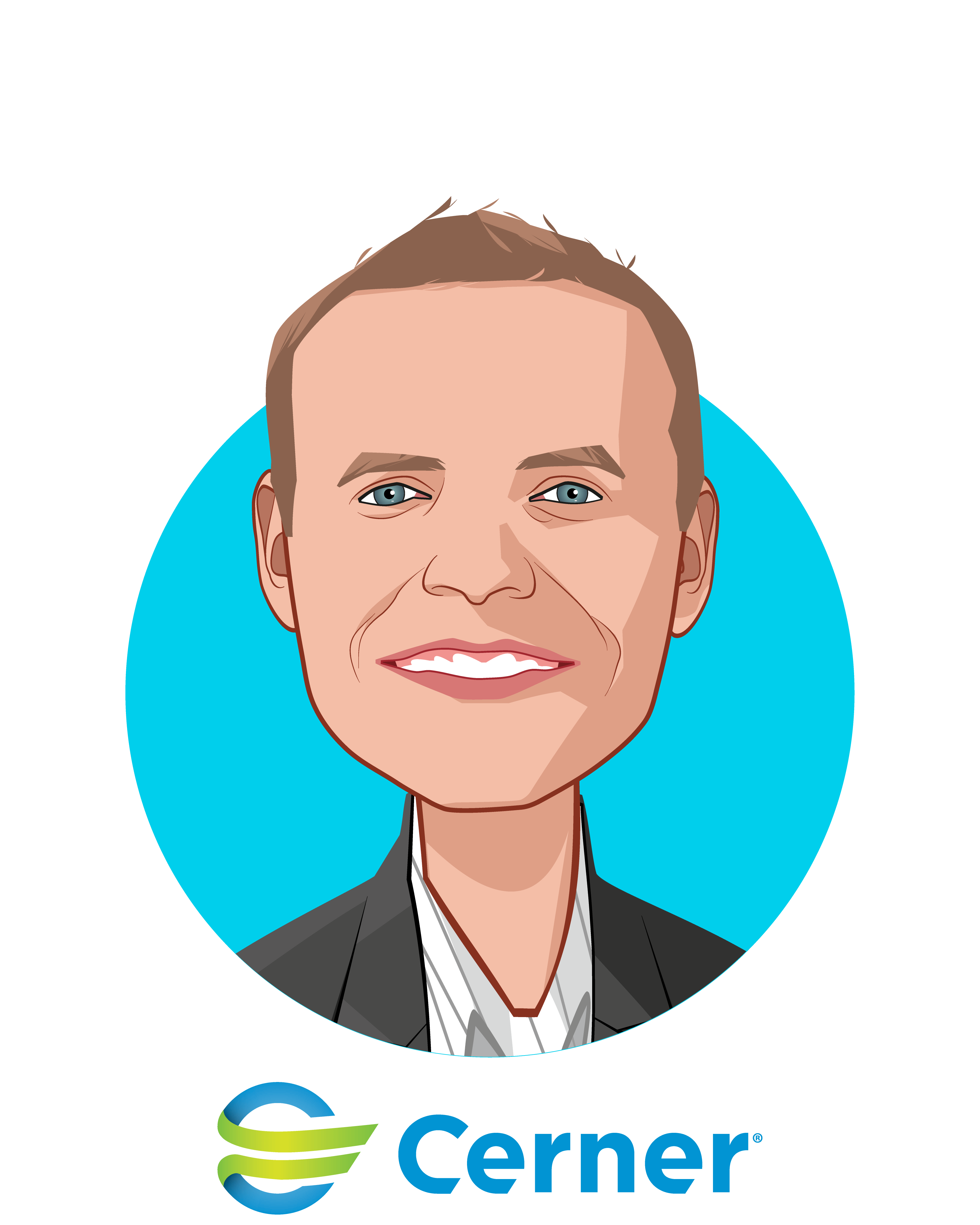 Main caricature of John Gresham, who is speaking at HLTH and is Senior Vice President at Cerner