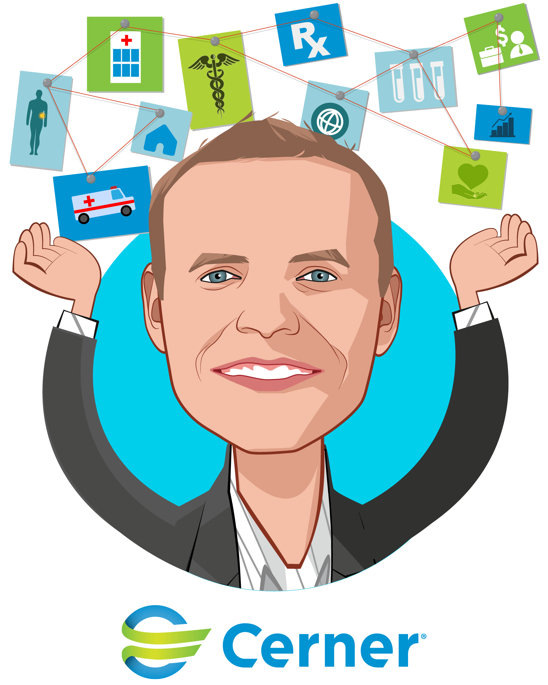 Overlay caricature of John Gresham, who is speaking at HLTH and is Senior Vice President at Cerner