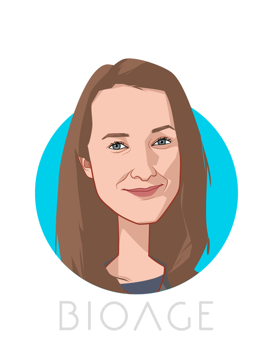 Main caricature of Kristen Fortney, who is speaking at HLTH and is CEO at BIOAGE