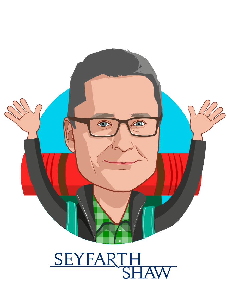 Overlay caricature of Mark Coffin, who is speaking at HLTH and is Partner at Seyfarth Shaw LLP