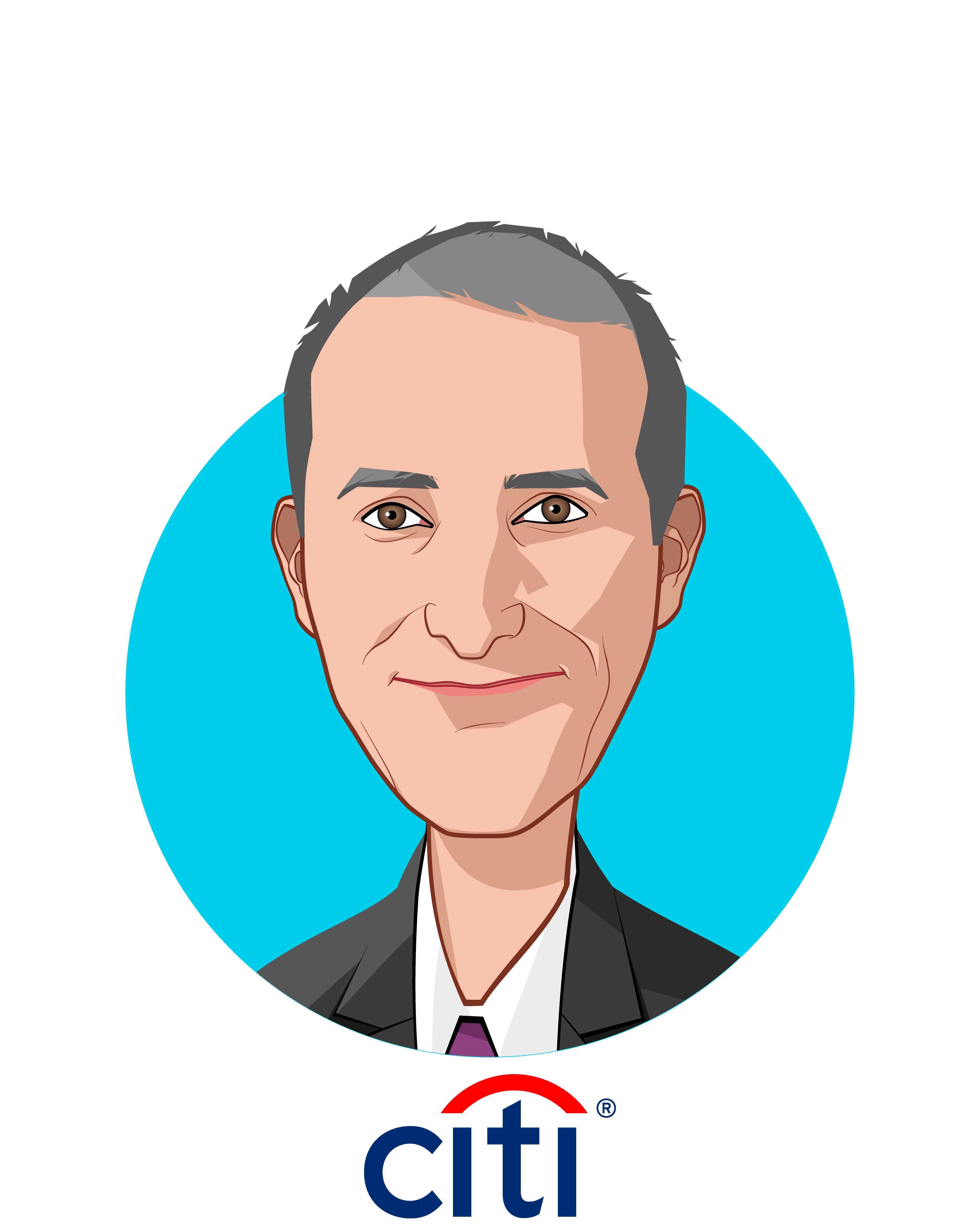 Main caricature of Niko Triantafillou, who is speaking at HLTH and is SVP Global Benefits (Wellness) at Citi