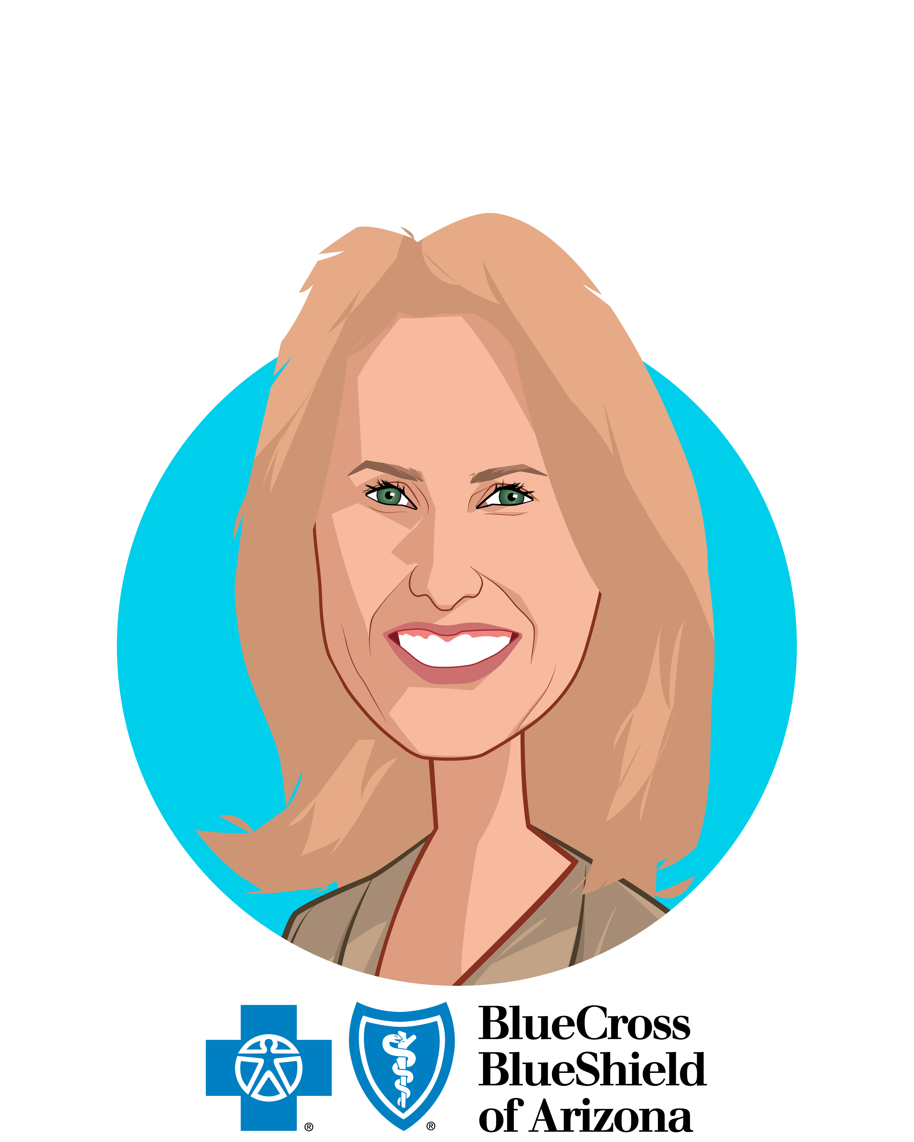 Main caricature of Pam Kehaly, who is speaking at HLTH and is President & CEO at Blue Cross Blue Shield of Arizona
