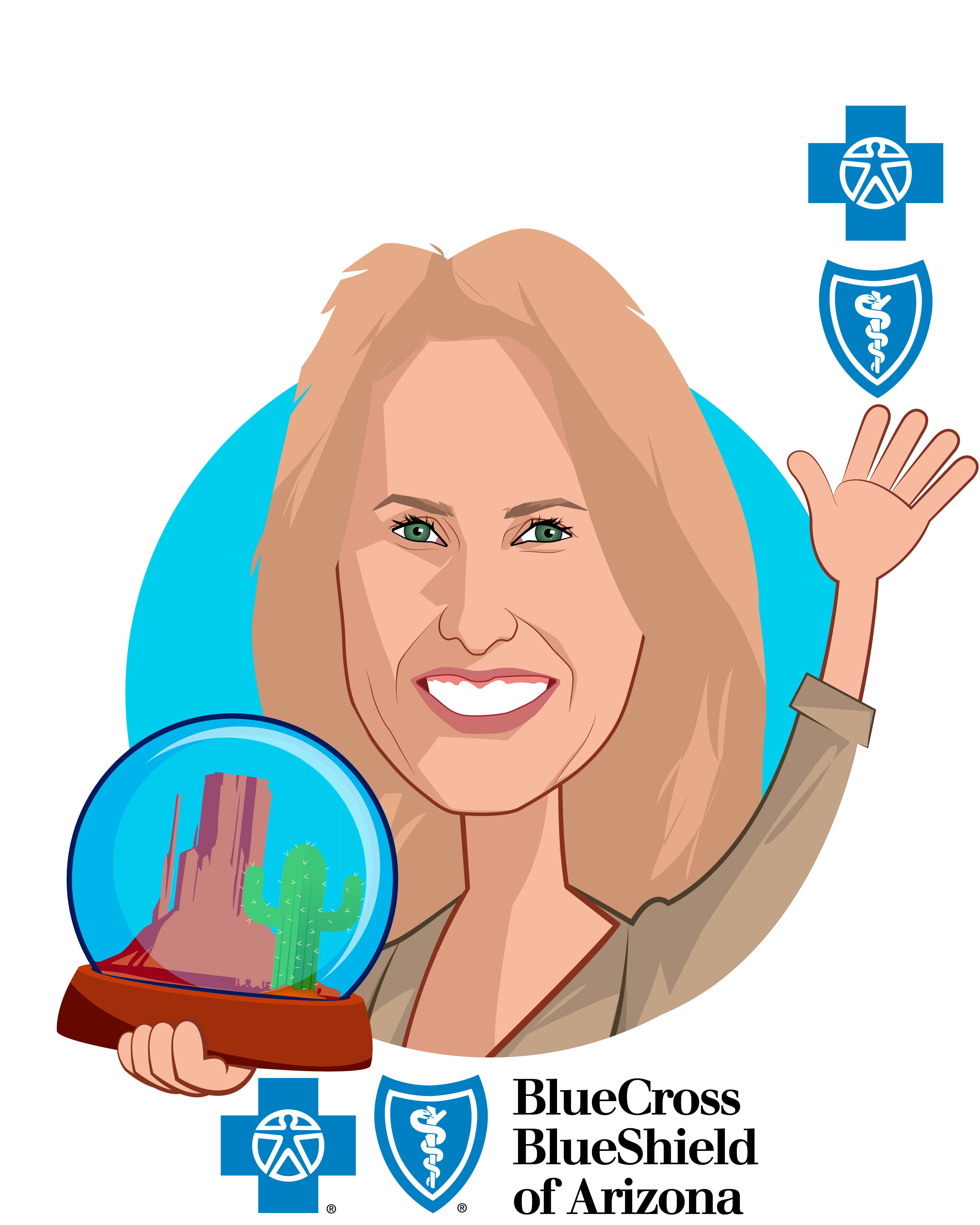 Overlay caricature of Pam Kehaly, who is speaking at HLTH and is President & CEO at Blue Cross Blue Shield of Arizona