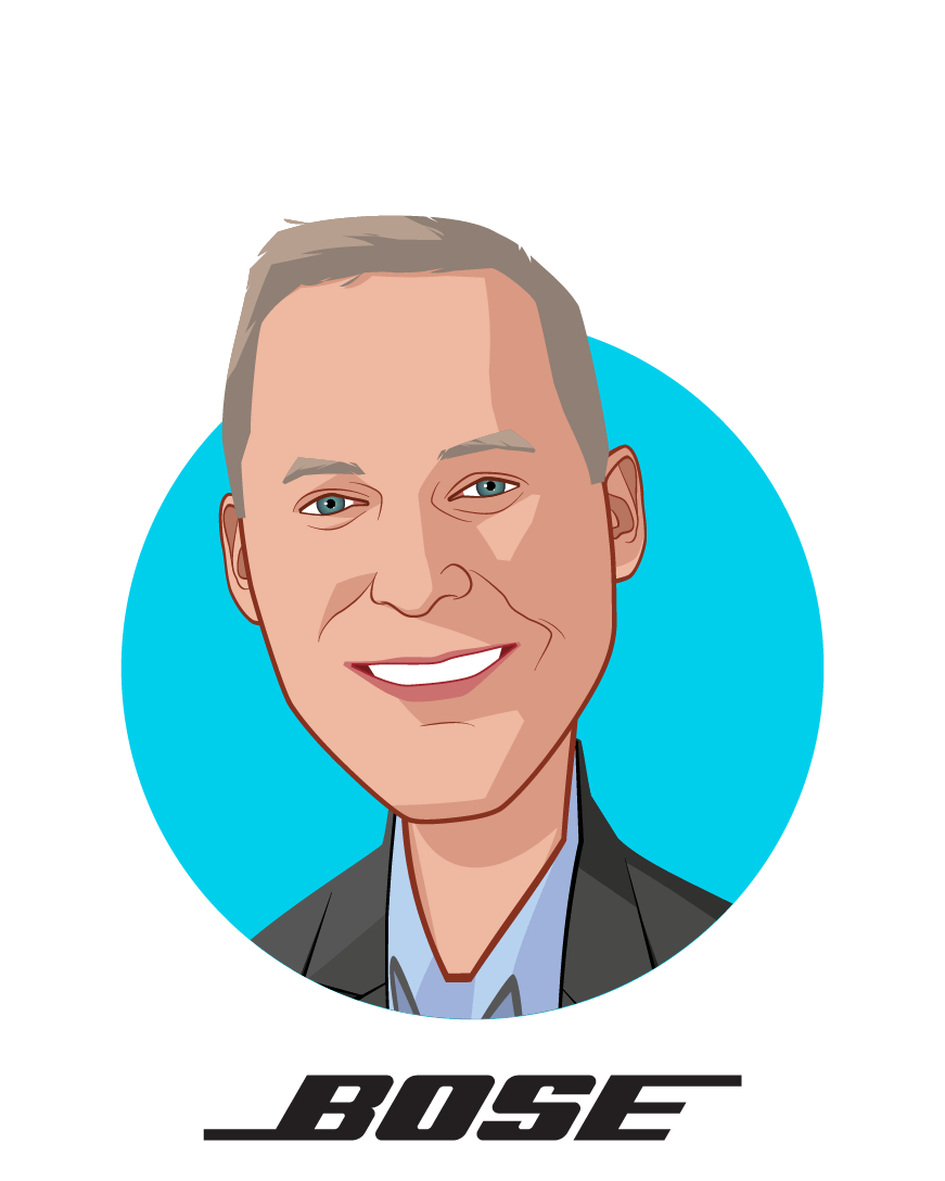 Main caricature of Phil Hess, who is speaking at HLTH and is CEO & President at Bose Corporation