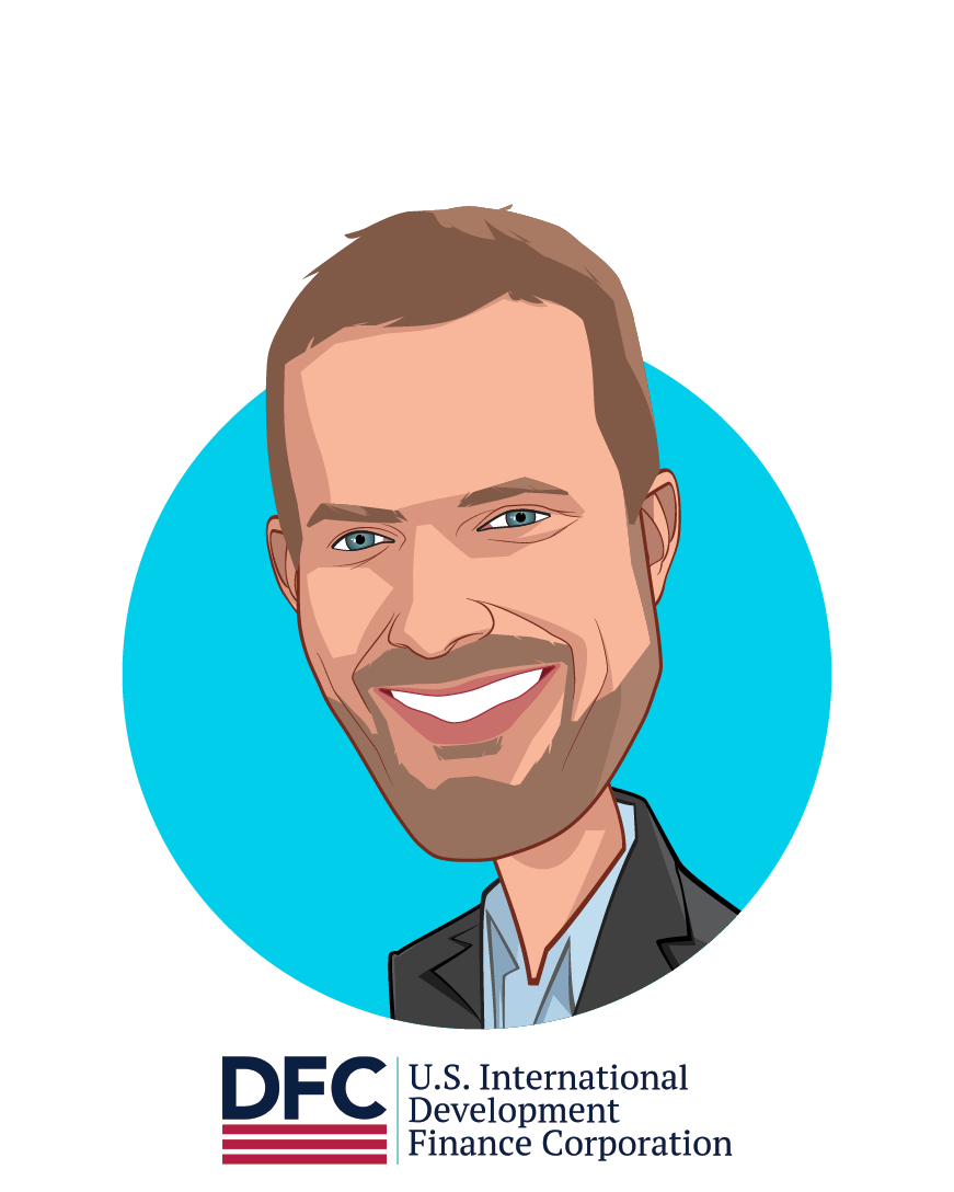 Main caricature of Adam Boehler, who is speaking at HLTH and is Chief Executive Officer, U.S. International Development Finance Corporation at U.S. International Development Finance Corporation