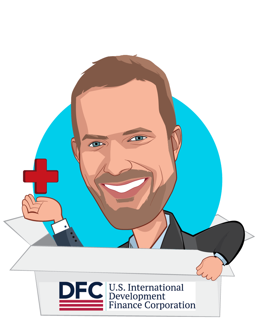 Overlay caricature of Adam Boehler, who is speaking at HLTH and is Chief Executive Officer, U.S. International Development Finance Corporation at U.S. International Development Finance Corporation
