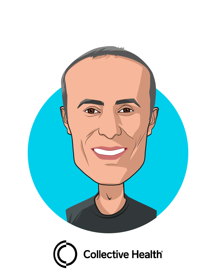 Main caricature of Ali Diab, who is speaking at HLTH and is Co-Founder & CEO at Collective Health