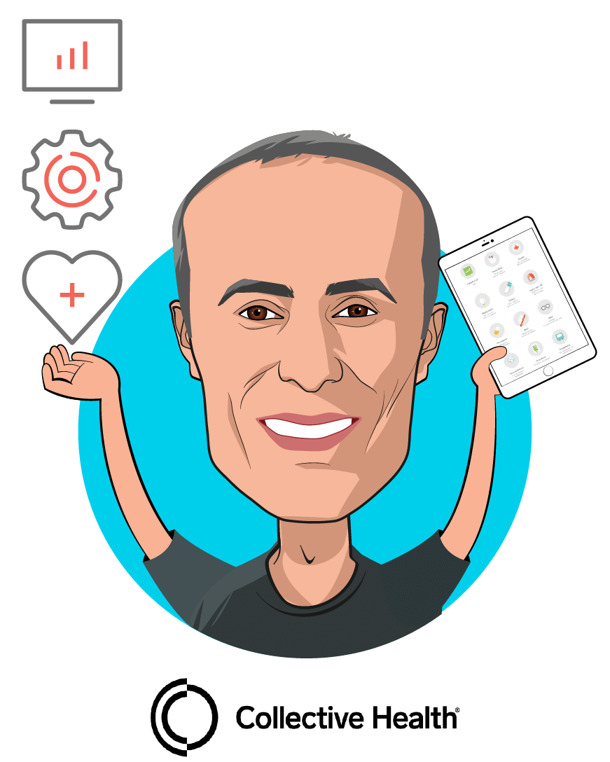 Overlay caricature of Ali Diab, who is speaking at HLTH and is Co-Founder & CEO at Collective Health