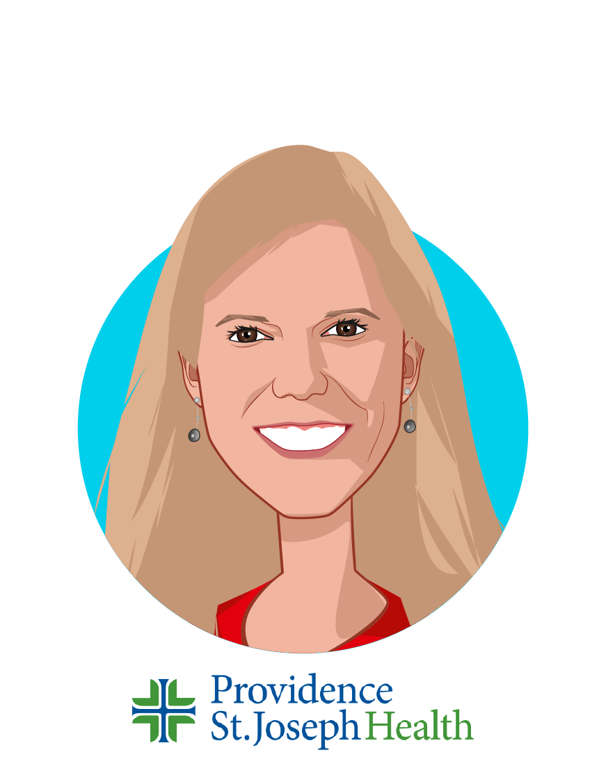 Main caricature of Amy Compton-Phillips, MD, who is speaking at HLTH and is Executive Vice President, Chief Clinical Officer at Providence St. Joseph Health
