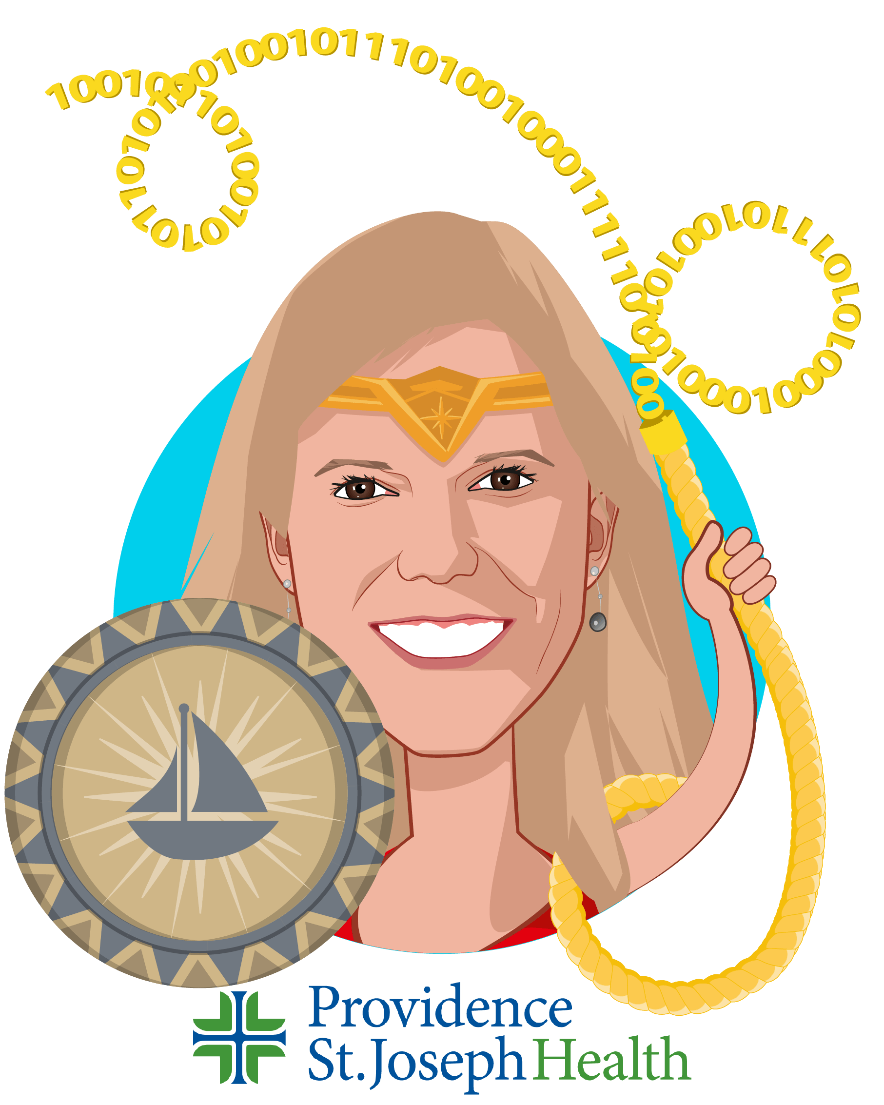 Overlay caricature of Amy Compton-Phillips, MD, who is speaking at HLTH and is Executive Vice President, Chief Clinical Officer at Providence St. Joseph Health