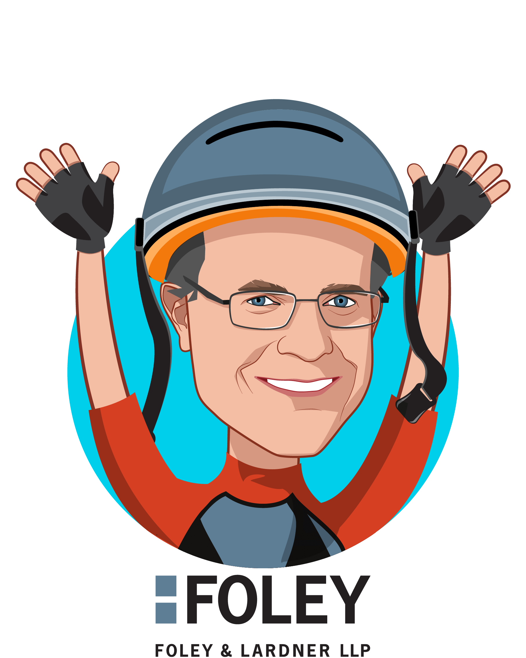 Overlay caricature of Christopher Donovan, who is speaking at HLTH and is Partner at Foley & Lardner LLP