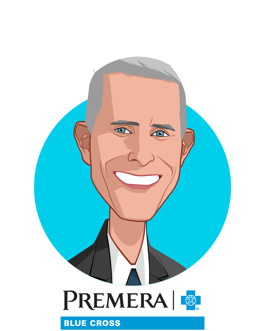 Main caricature of David Braza, who is speaking at HLTH and is Executive Vice President of Healthcare Informatics and Chief Actuary at Premera Blue Cross