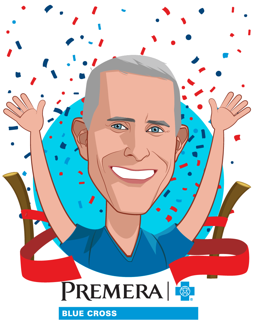 Overlay caricature of David Braza, who is speaking at HLTH and is Executive Vice President of Healthcare Informatics and Chief Actuary at Premera Blue Cross