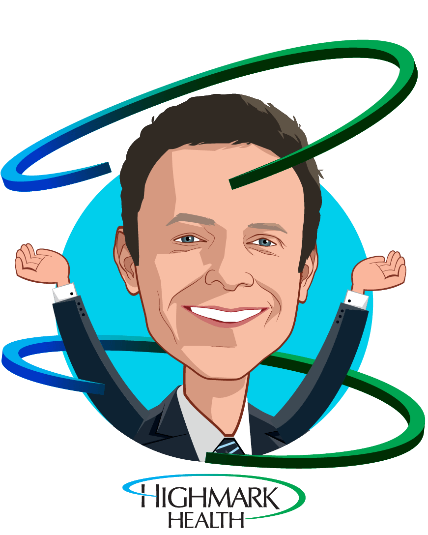 Overlay caricature of David L. Holmberg, who is speaking at HLTH and is President and Chief Executive Officer  at Highmark Health