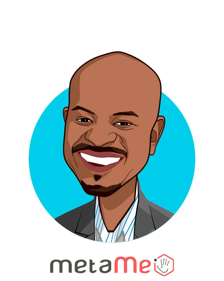 Main caricature of Dele Atanda, who is speaking at HLTH and is CEO at metaMe