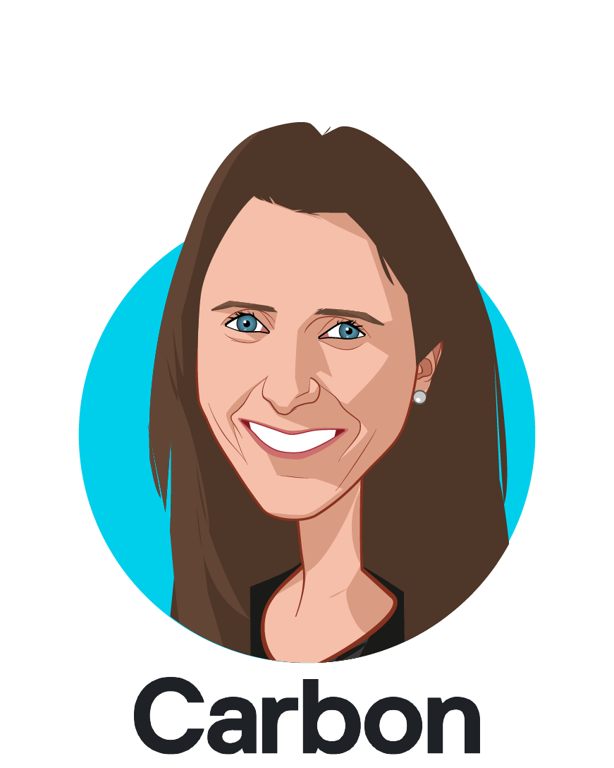 Main caricature of Elle Meyer, who is speaking at HLTH and is Director, Life Sciences at Carbon, Inc.