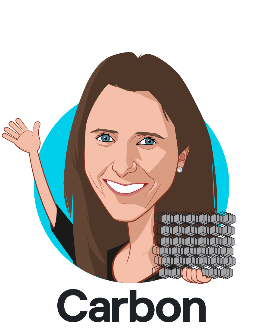 Overlay caricature of Elle Meyer, who is speaking at HLTH and is Director, Life Sciences at Carbon, Inc.