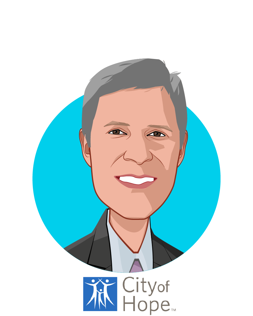 Main caricature of Harlan Levine, MD, who is speaking at HLTH and is President, Strategy & Business Ventures at City of Hope