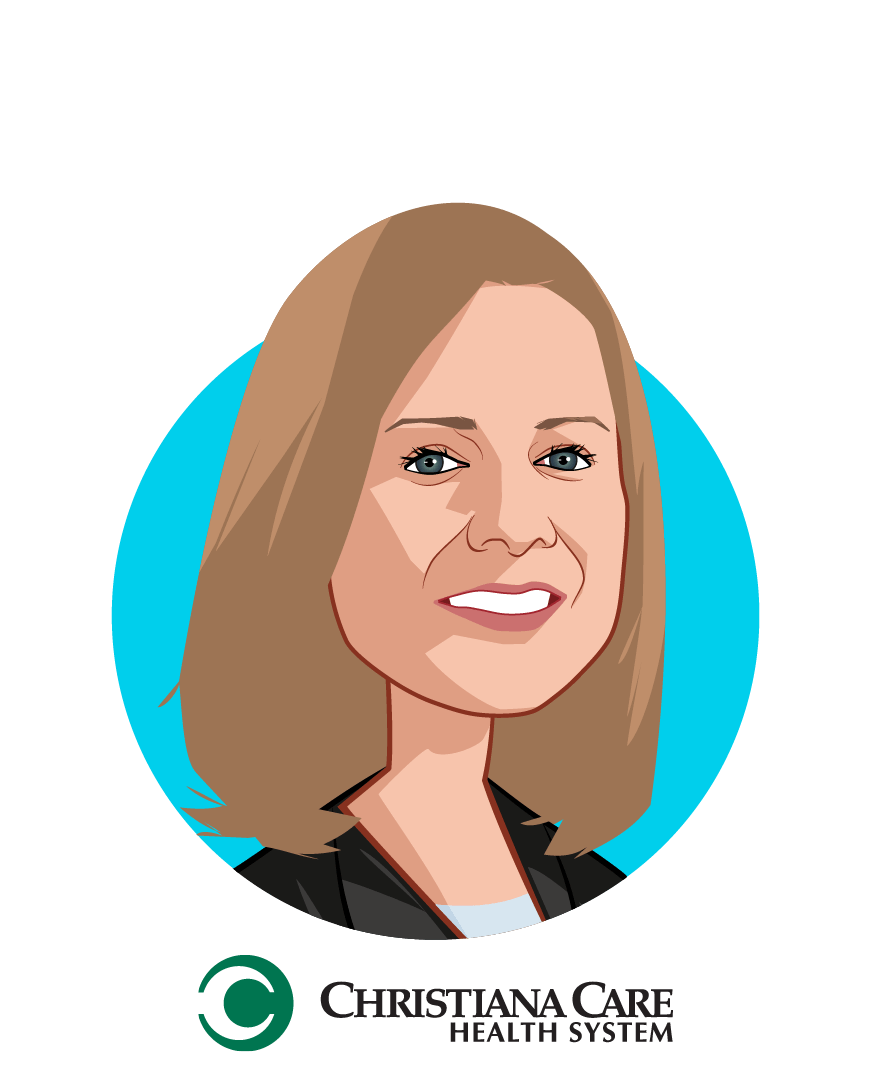 Main caricature of Janice E. Nevin, M.D., MPH, who is speaking at HLTH and is President and Chief Executive Officer at Christiana Care Health System