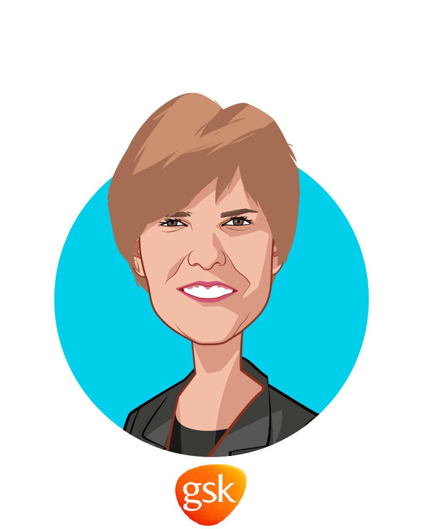 Main caricature of Karenann Terrell, who is speaking at HLTH and is Chief Digital & Technology Officer at GSK