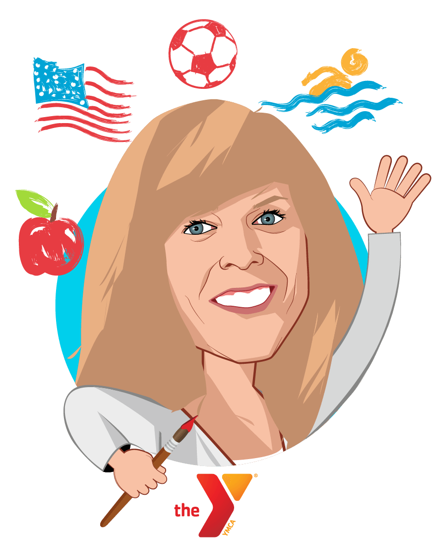 Overlay caricature of Katie Adamson, who is speaking at HLTH and is Vice President, Health Partnerships and Policy at YMCA of the USA